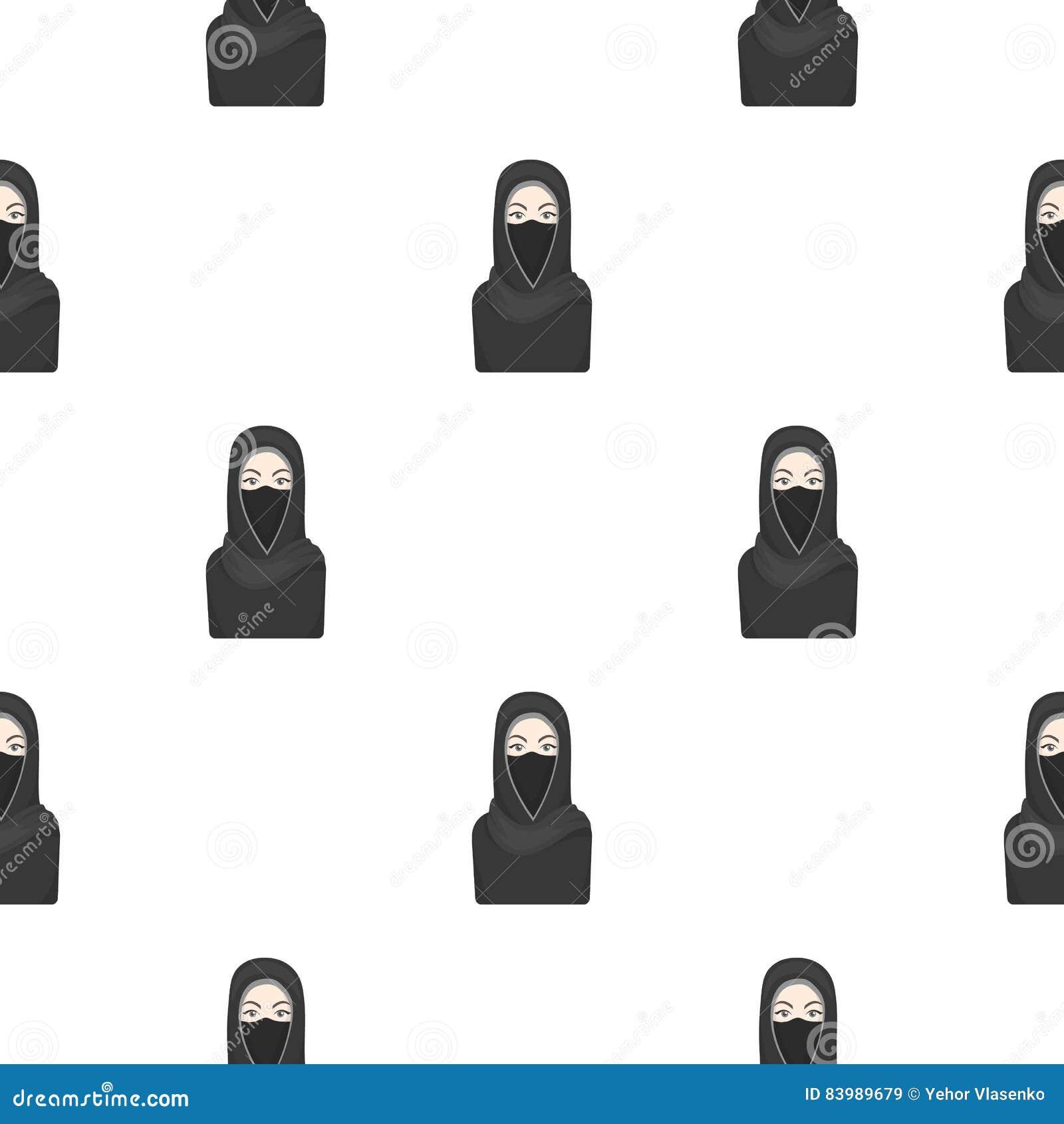 Niqabpictogram in beeldverhaalstijl op witte achtergrond wordt geïsoleerd die De voorraad vectorillustratie van het godsdienstpat