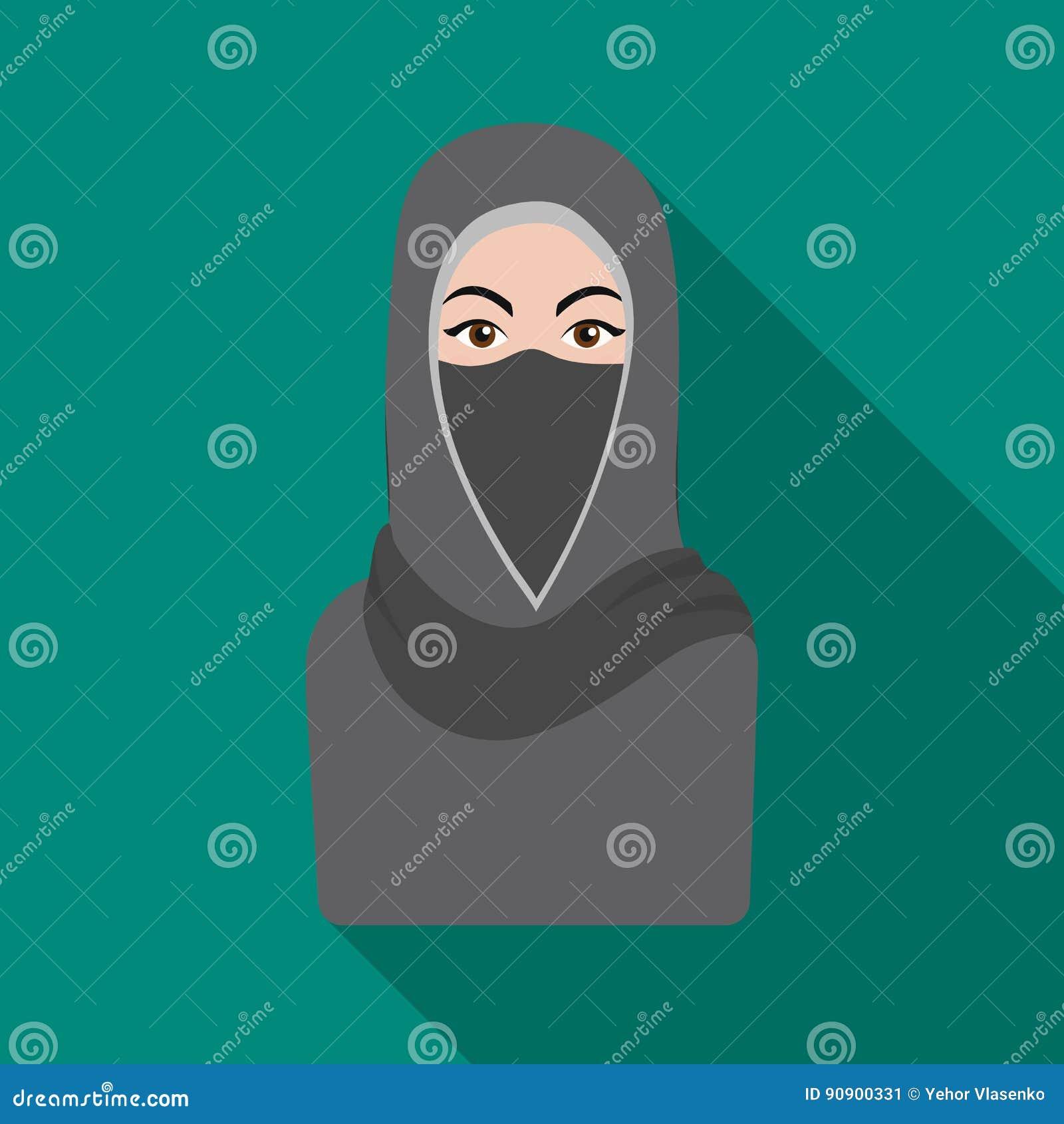 Niqabpictogram in vlakke die stijl op witte achtergrond wordt geïsoleerd De voorraad vectorillustratie van het godsdienstsymbool