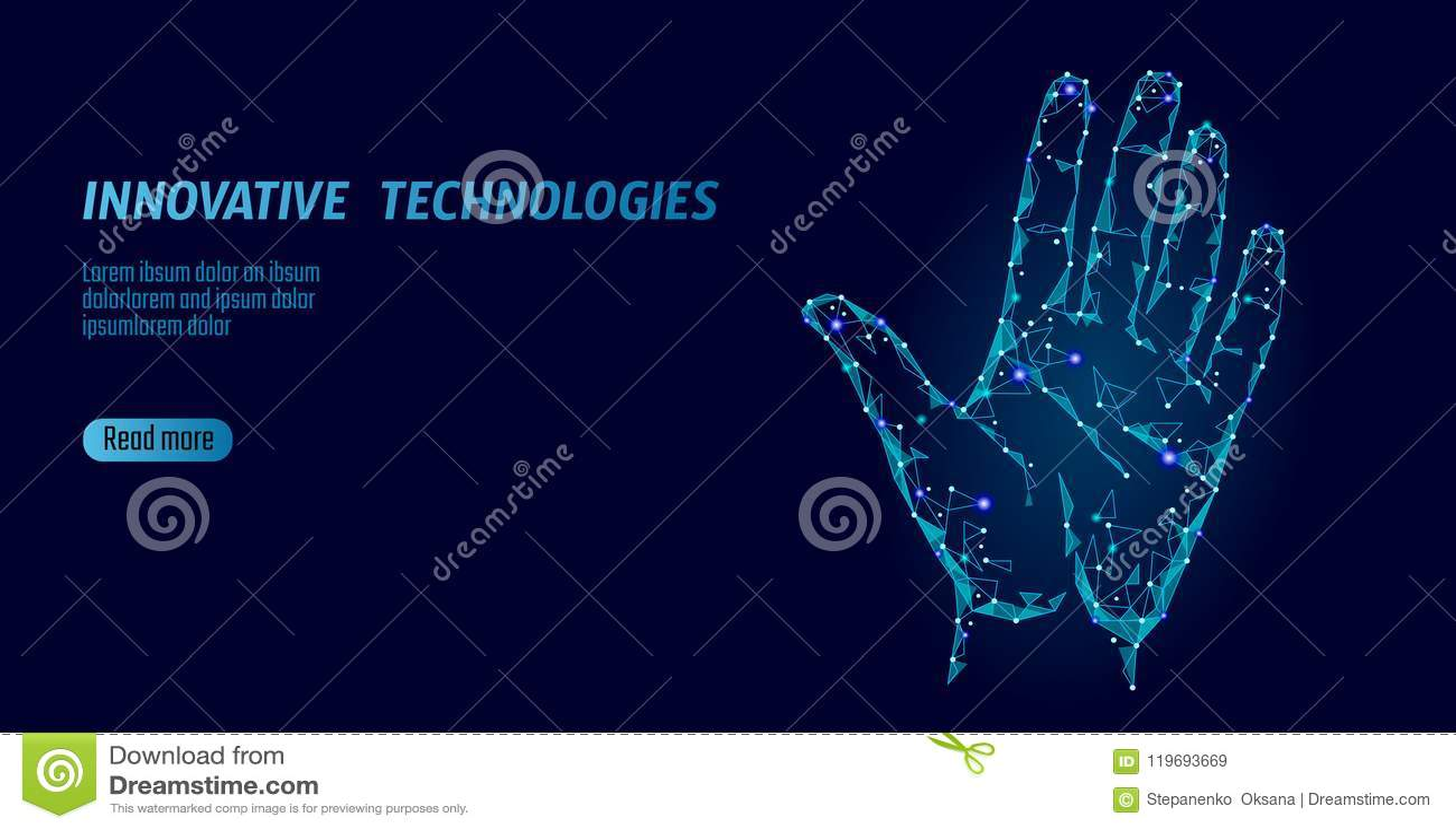 Niska poli- ręka obrazu cyfrowego cyber ochrona Osobisty tożsamościowy odcisku palca handprint ID kod Ewidencyjny dane bezpieczeń