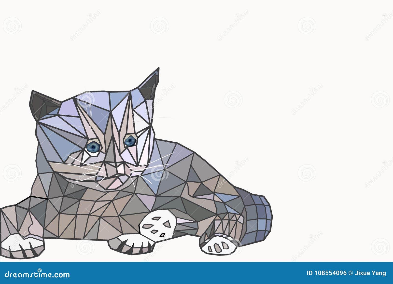 Niski Poli Kot Ilustracji Ilustracja Złożonej Z Geometryczny