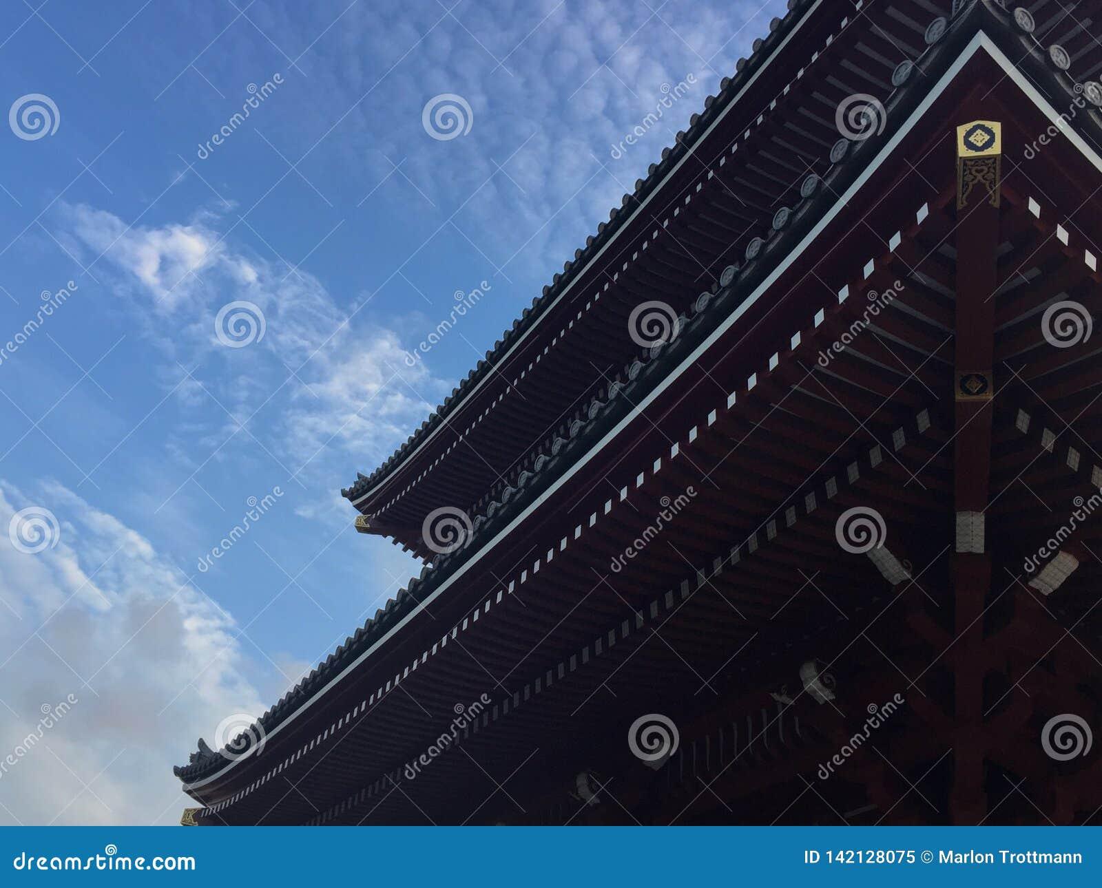 Niskiego kąta widok piękny drewniany dach Senso-ji świątynia w Tokio, Japonia