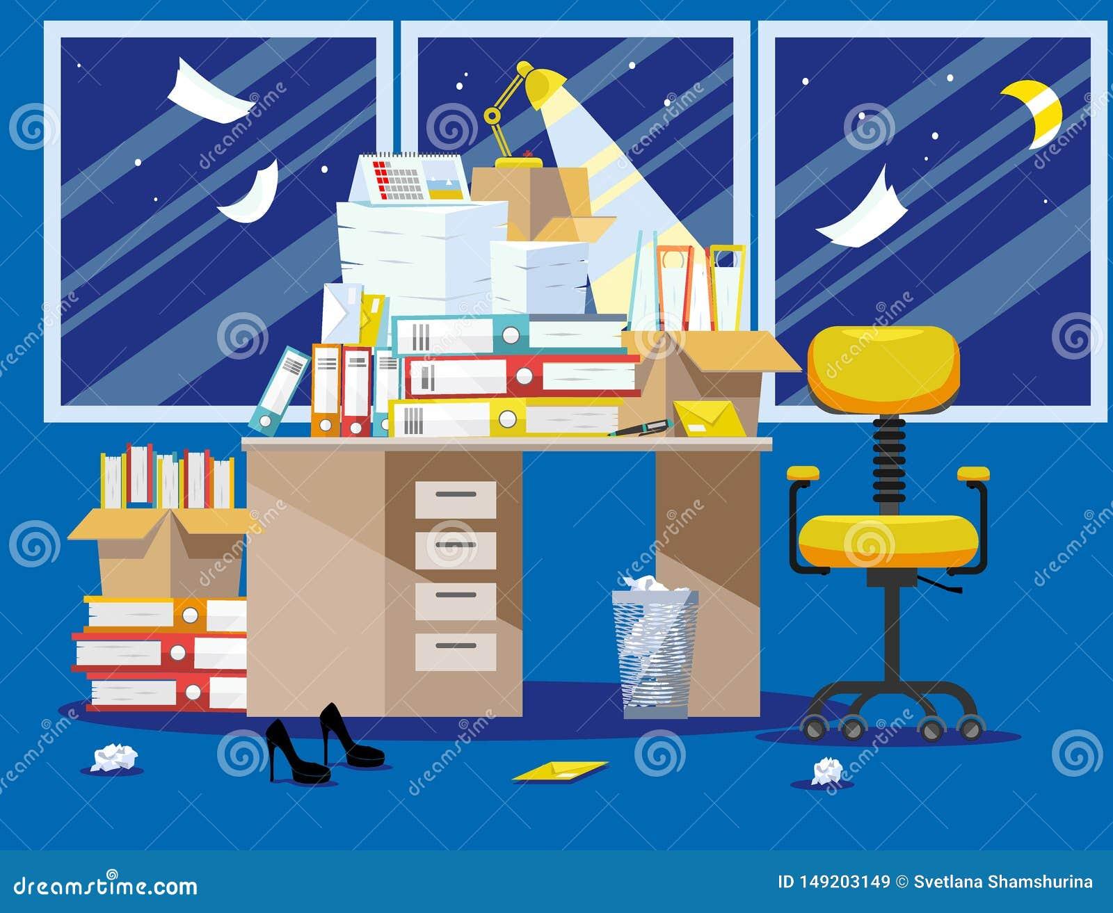 Nithtperiode van accountants en financierrapportenvoorlegging Stapel van document documenten en dossieromslagen in kartonvakjes