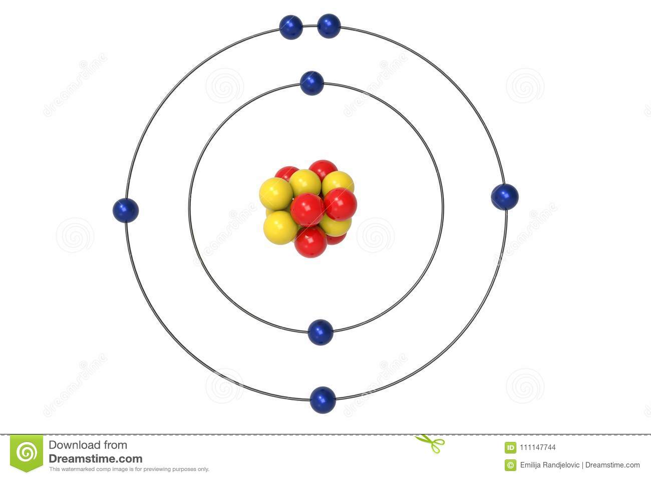 Nitrogen atom bohr model with proton neutron and electron stock download comp publicscrutiny Gallery