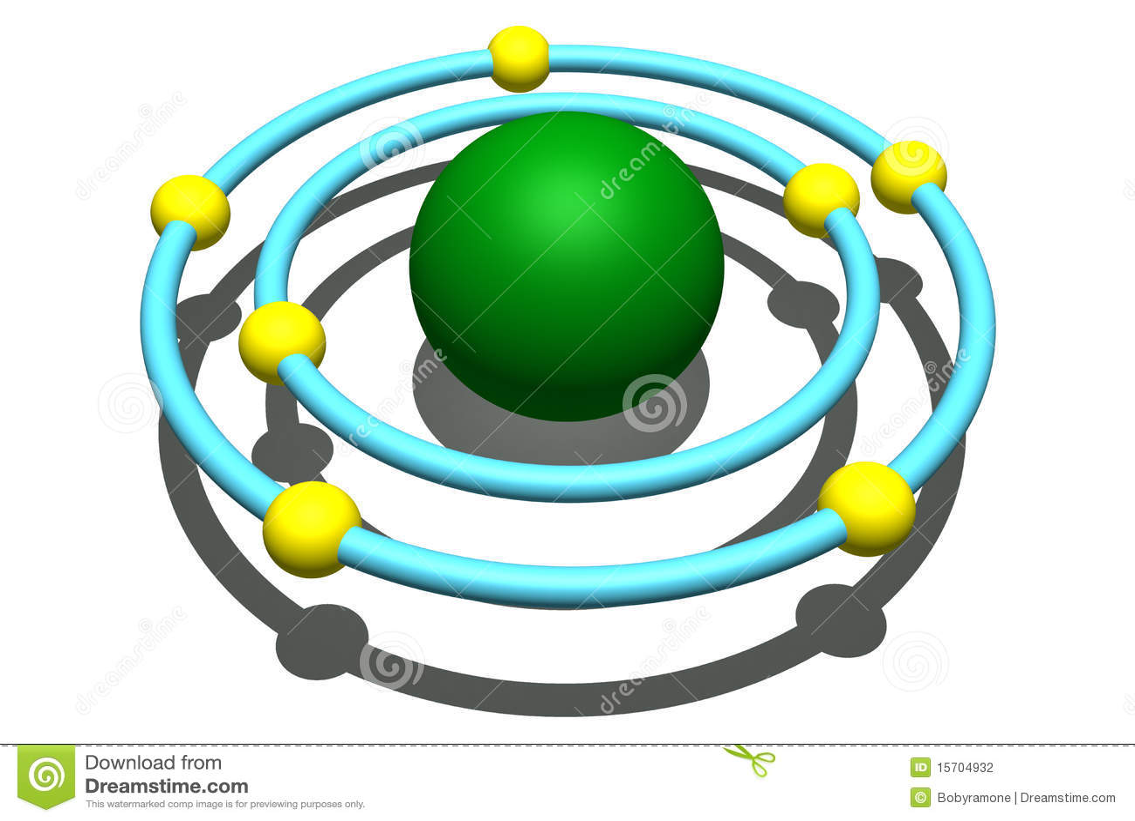 Nitrogen Atom Model Nitrogen Atom On White...
