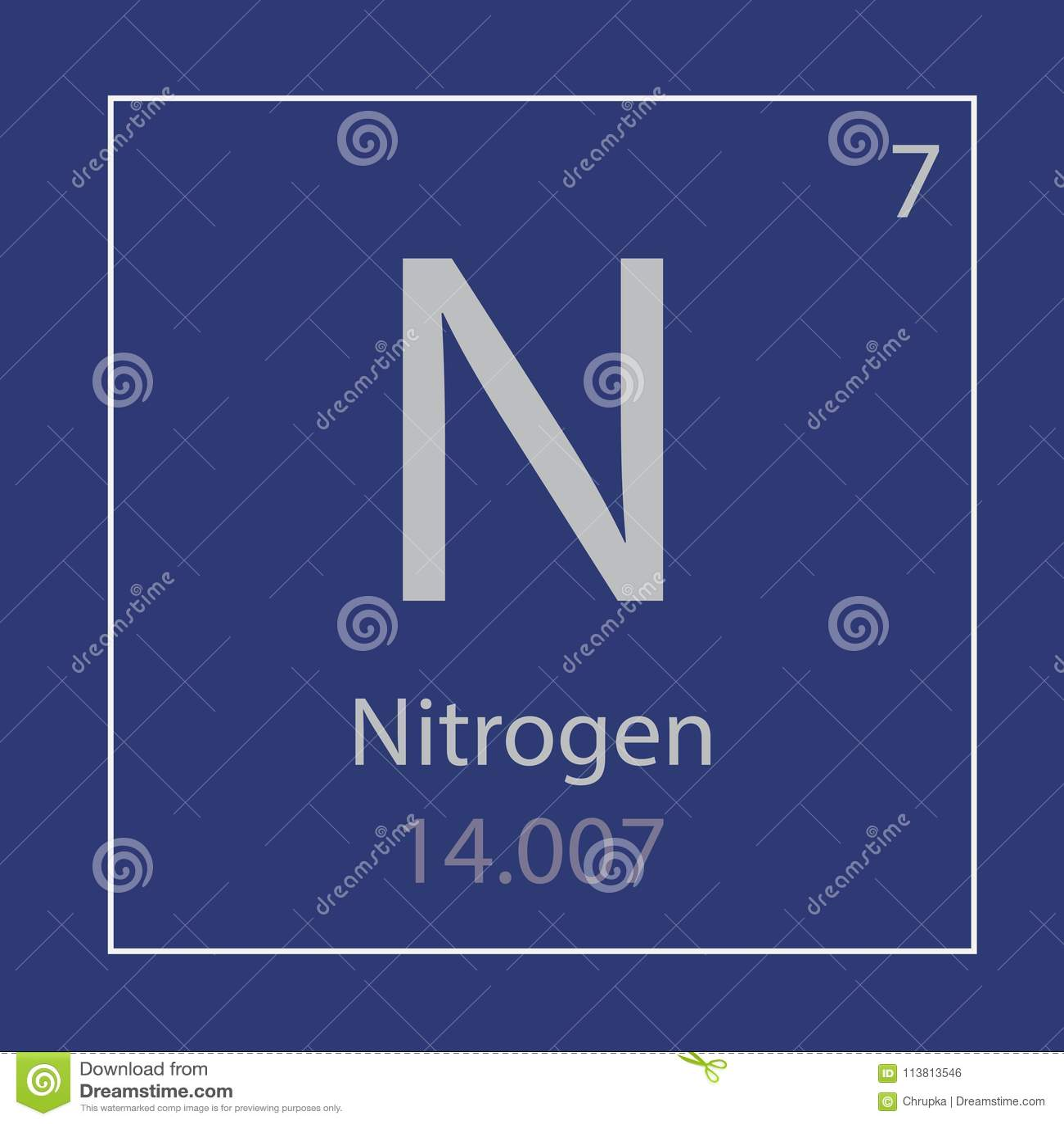 Nitrogen N Chemical Element Icon Stock Vector Illustration Of