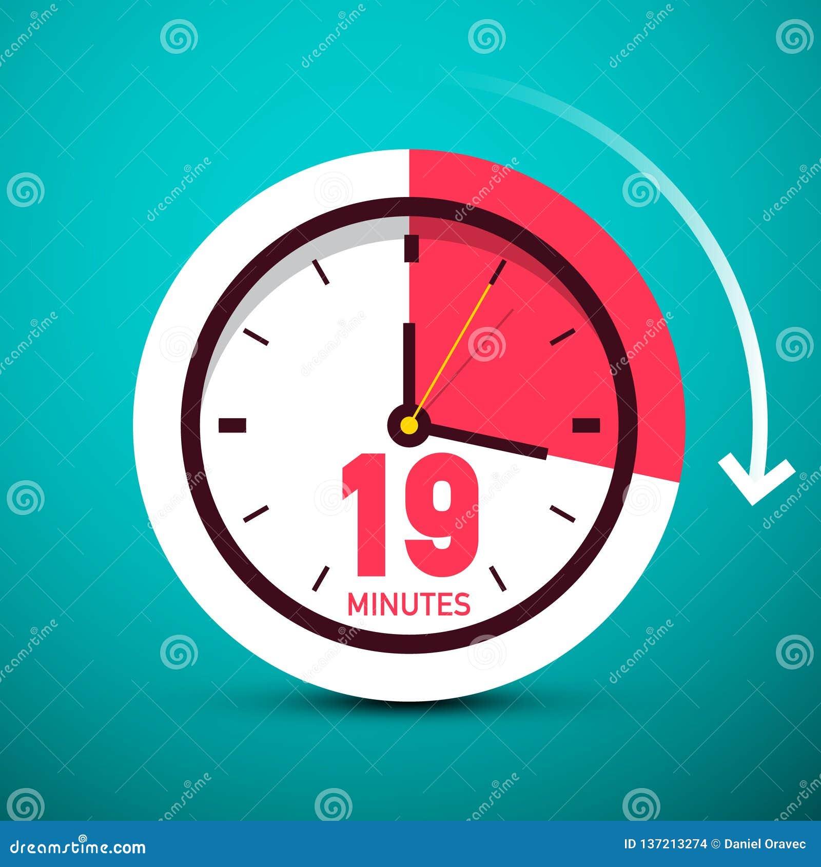 19 nitton minuter tar tid på symbolen Tid symbol med pilen