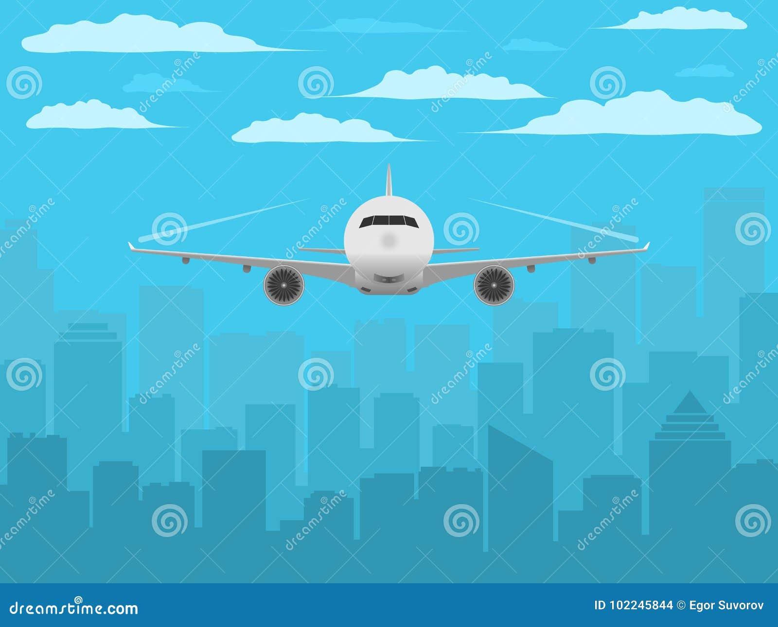 Nivå framme av stadskonturn Realistisk flygplan- och stadsbakgrund