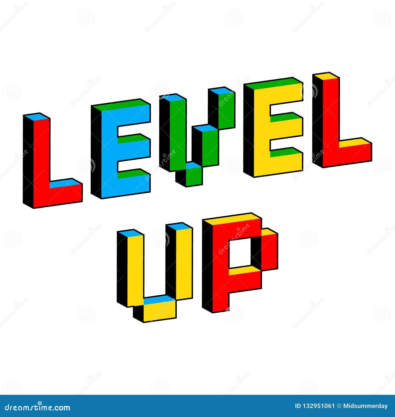 Nivå upp text i stil av gamla 8 bitvideospel Vibrerande färgrika bokstäver för PIXEL 3D Idérik digital vektoraffisch