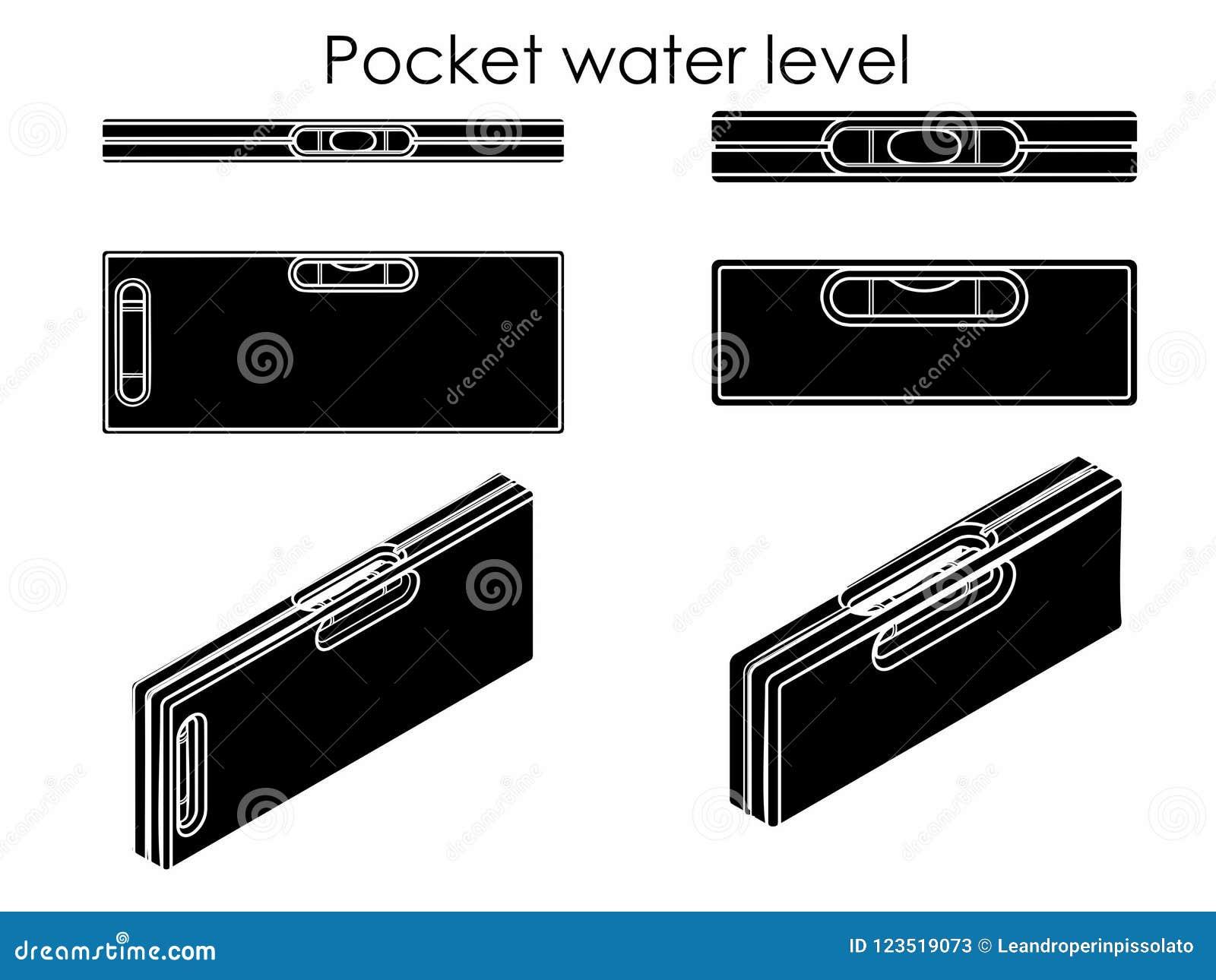 Nivel del agua del bolsillo Terraplén negro