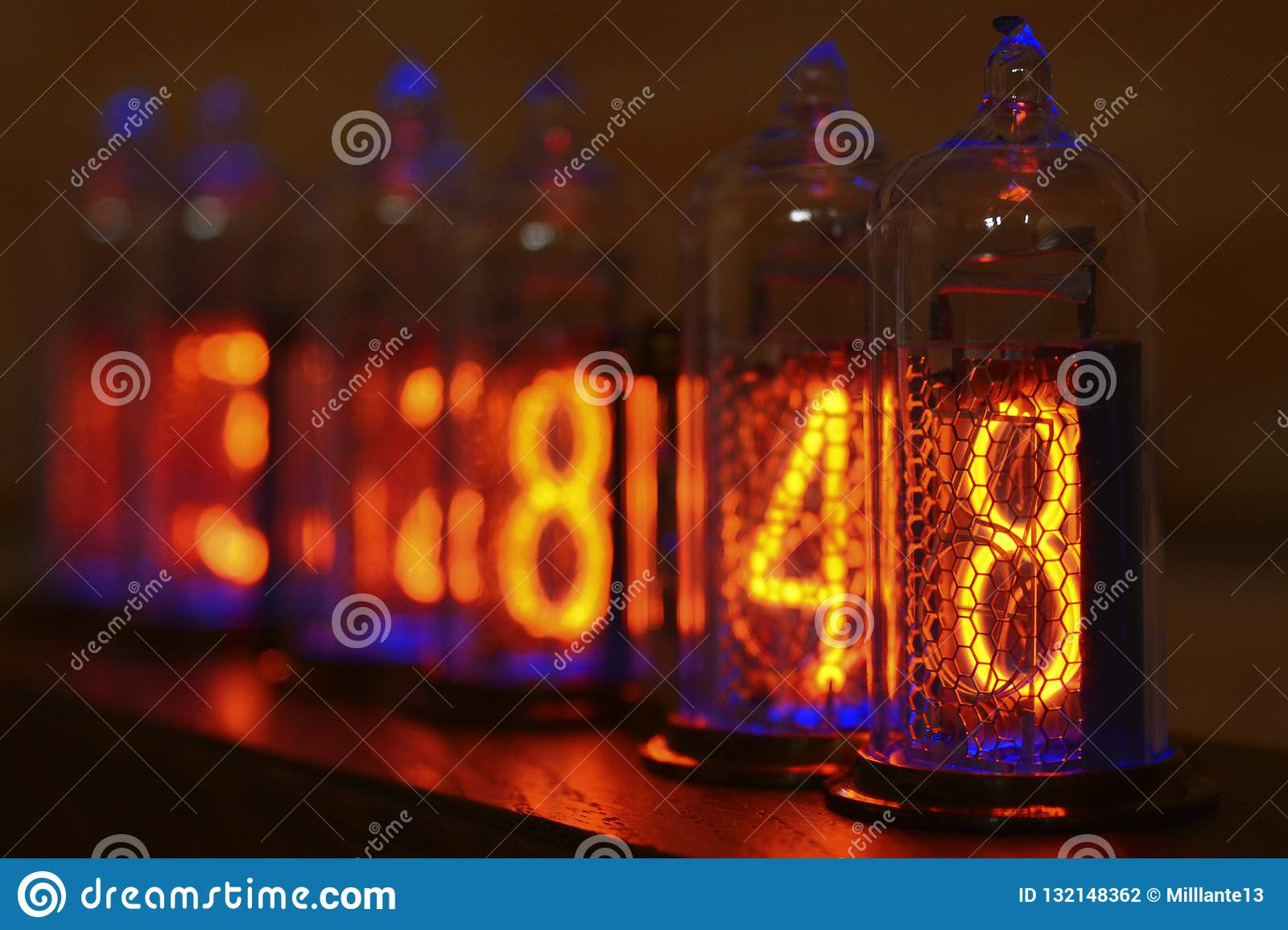 Nixie Clock - A Clock On The Gas-discharge Indicators  Stock