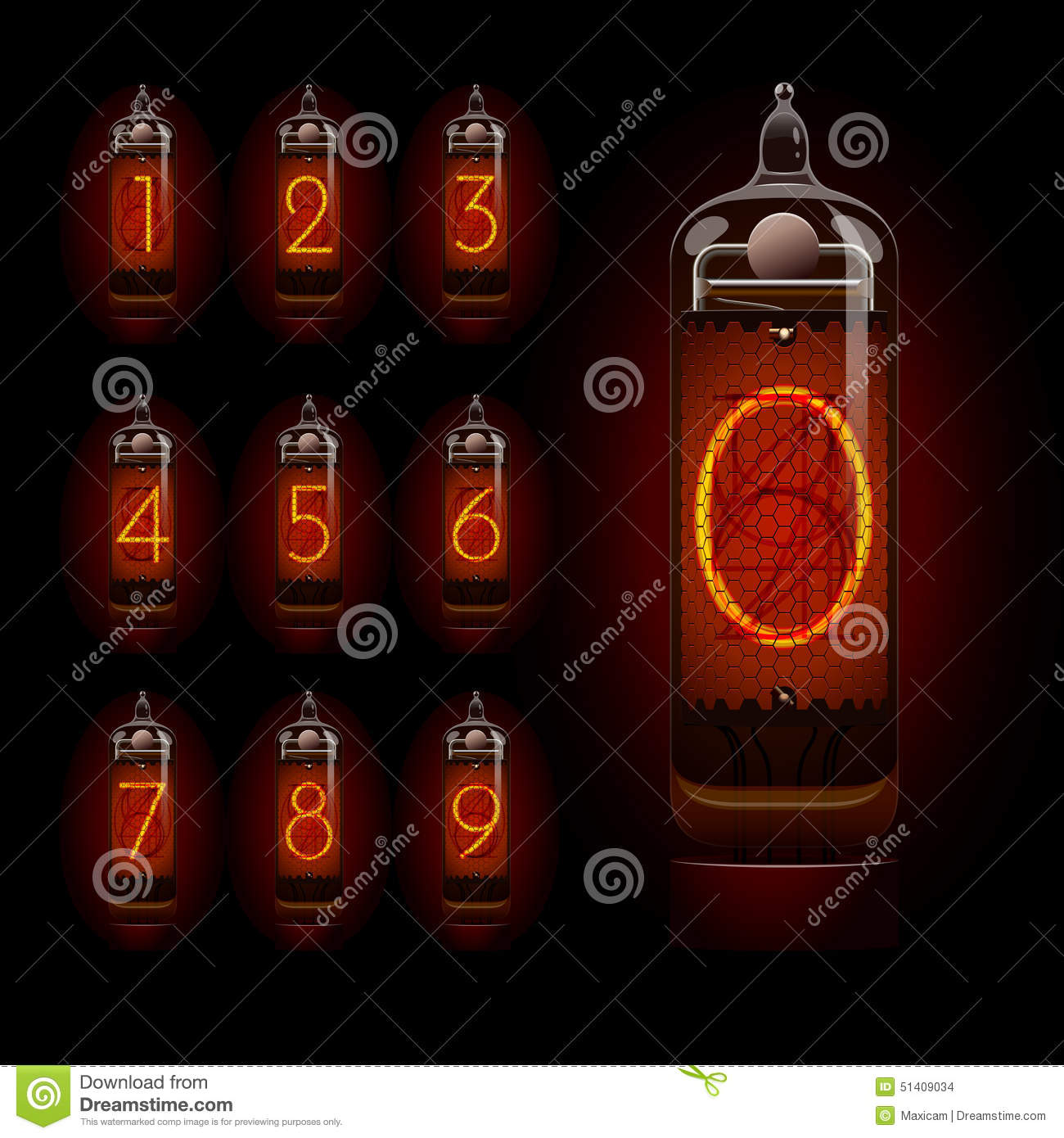 nixie tube with digits stock vector