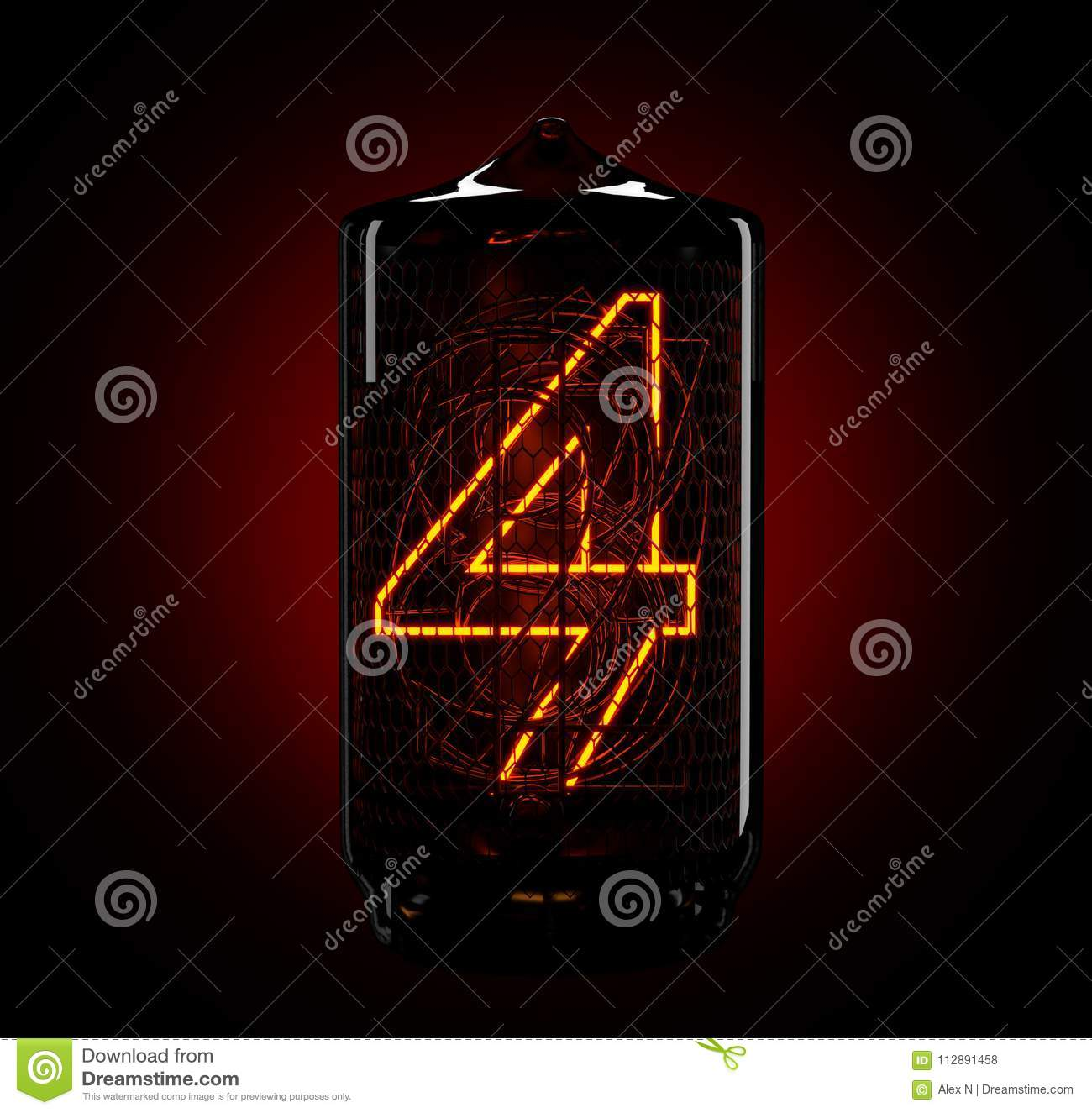 Nixie Tube Indicator  The Number Four Of Retro  3d Render