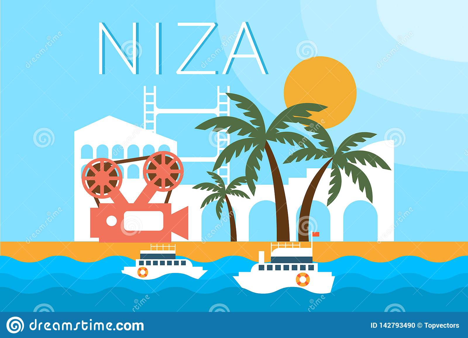 Niza, ορόσημα ταξιδιού, διανυσματική απεικόνιση αρχιτεκτονικής πόλεων σ