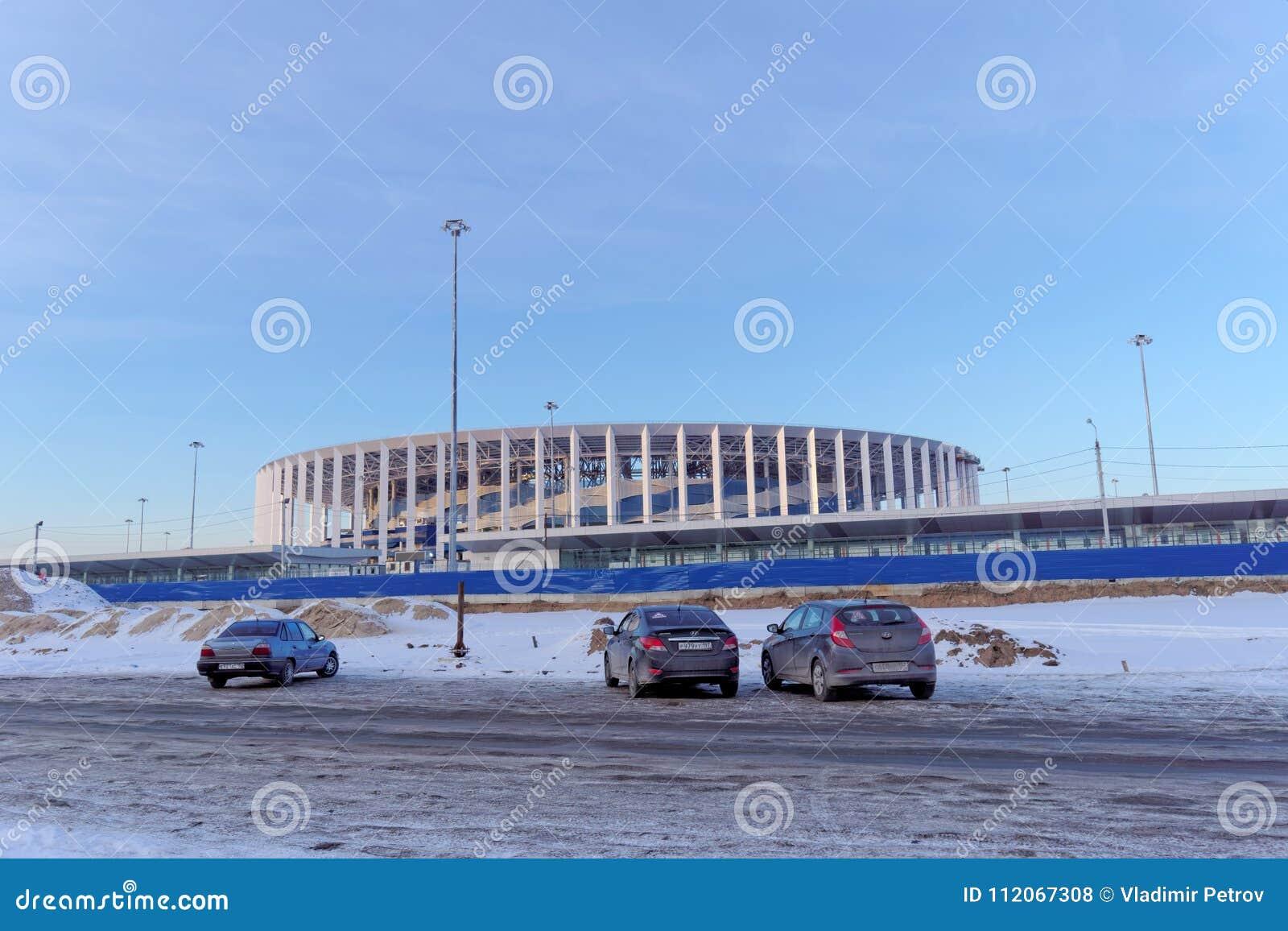 Nizhny novgorod Ρωσία - 2 Μαρτίου 2018 Κατασκευή του σταδίου σε Nizhny Novgorod στο Παγκόσμιο Κύπελλο 2018 της FIFA