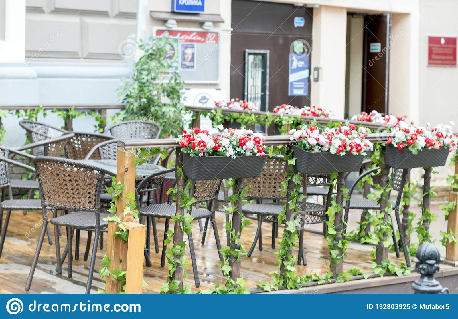 Summer terrace of the restaurant in the park