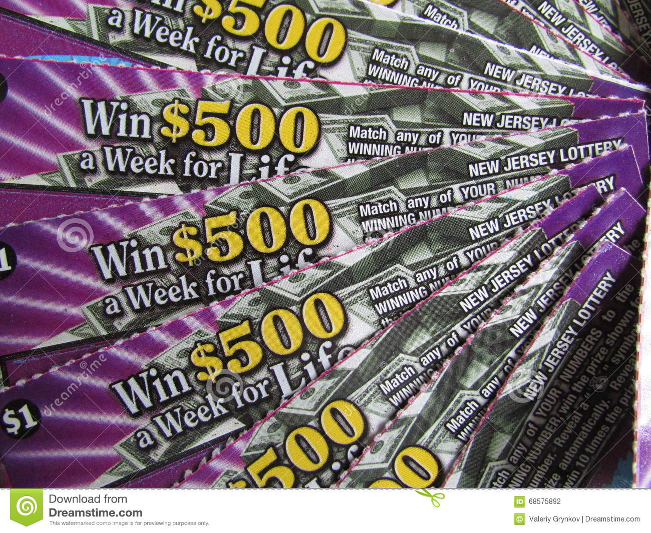 NJ Scratch Off Lottery Tickets, USA  Г  Editorial Photography