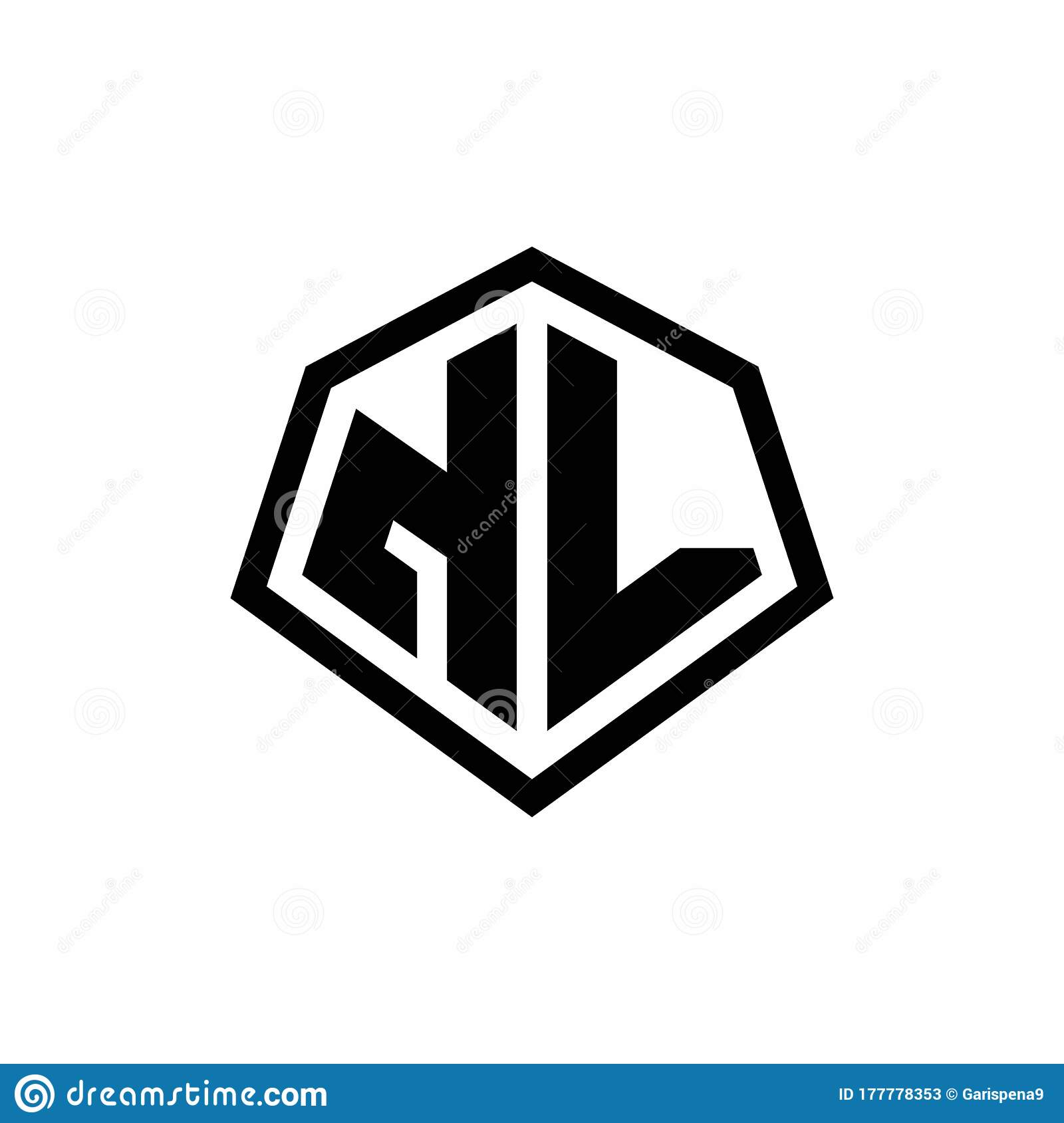 Nl Monogram Logo With Hexagon Shape And Line Rounded Style Design Template Stock Vector Illustration Of Graphic Elegance 177778353