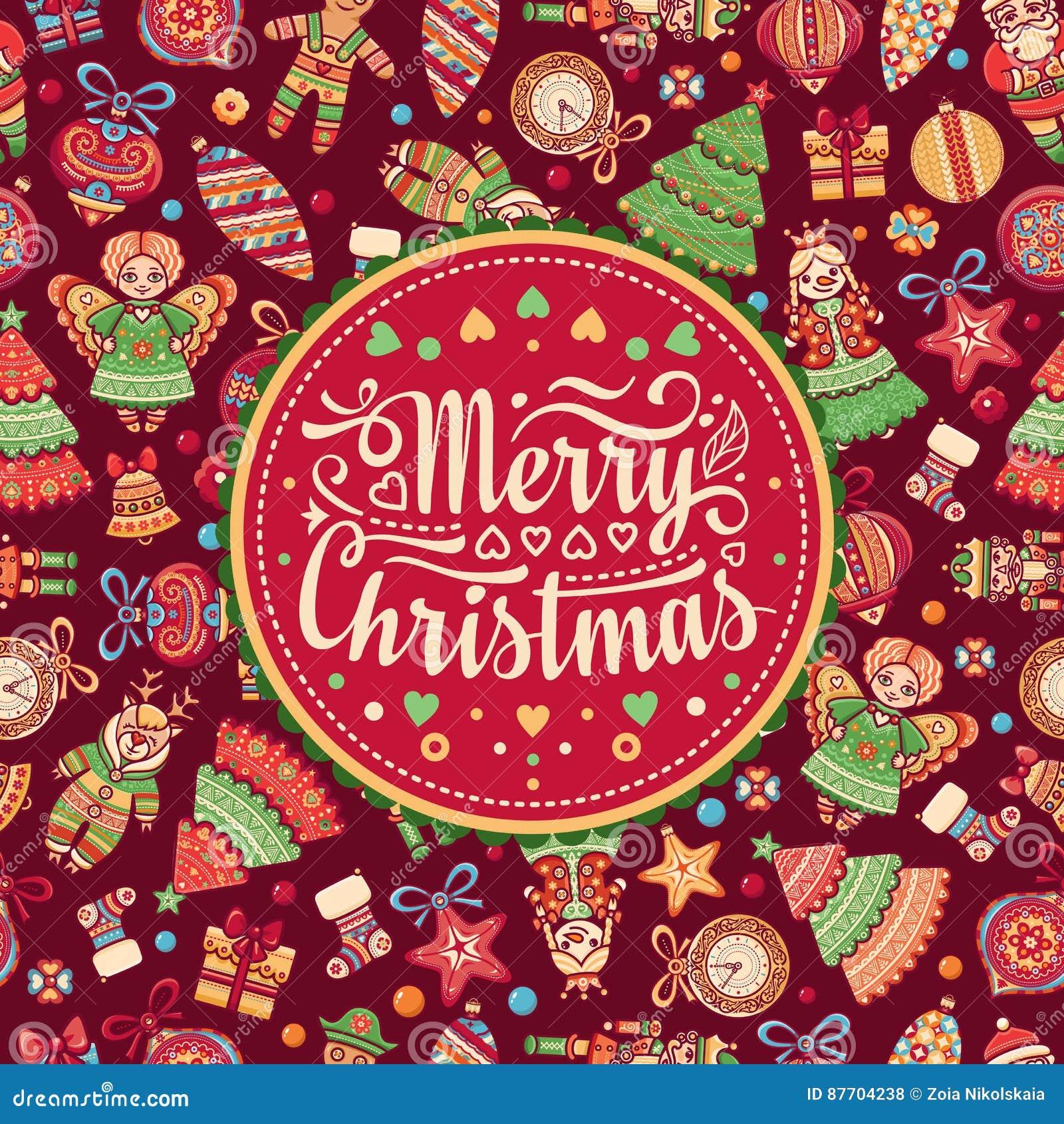 Noël Carte postale de salutation Illustrations colorées pour