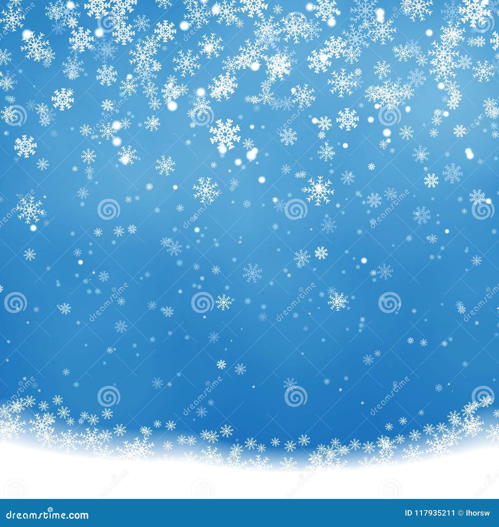 Noël en baisse brillant, belle neige transparente d isolement sur le fond bleu Flocons de neige, neige