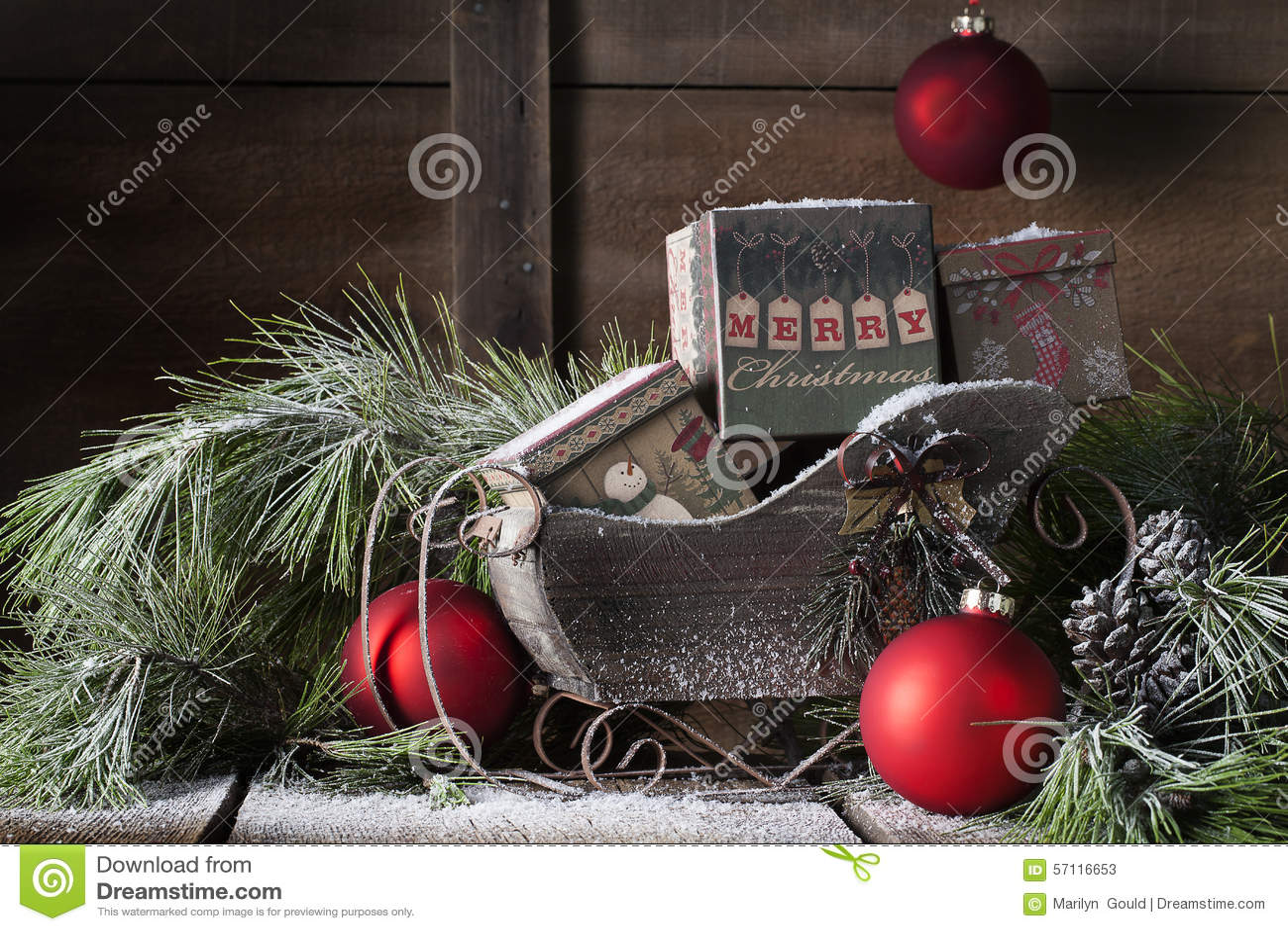 Noël en bois Sleigh
