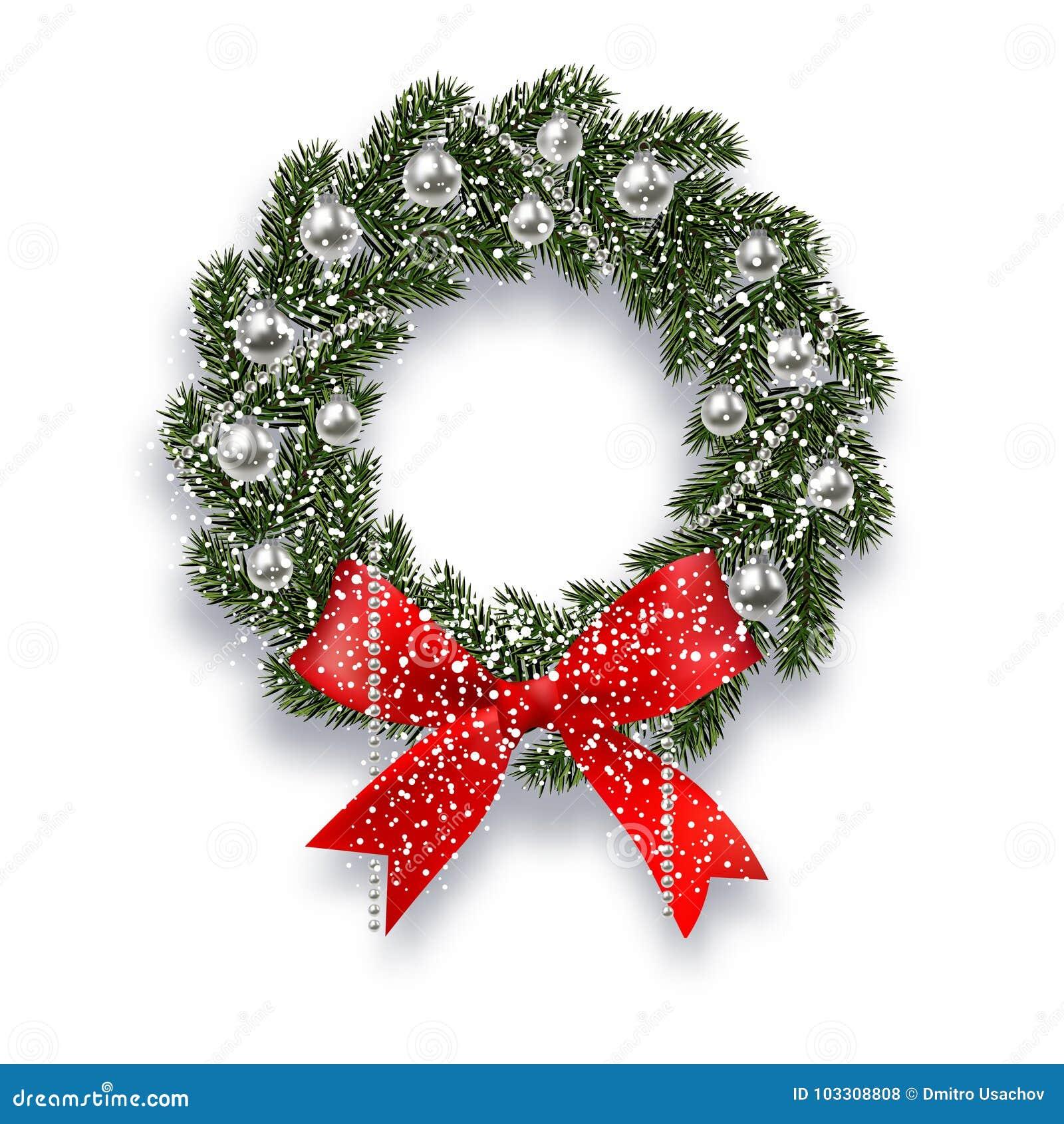 Noël, an neuf Branchement impeccable vert Guirlande de Noël avec l ombre et les flocons de neige Oignons rouges, boules argentées