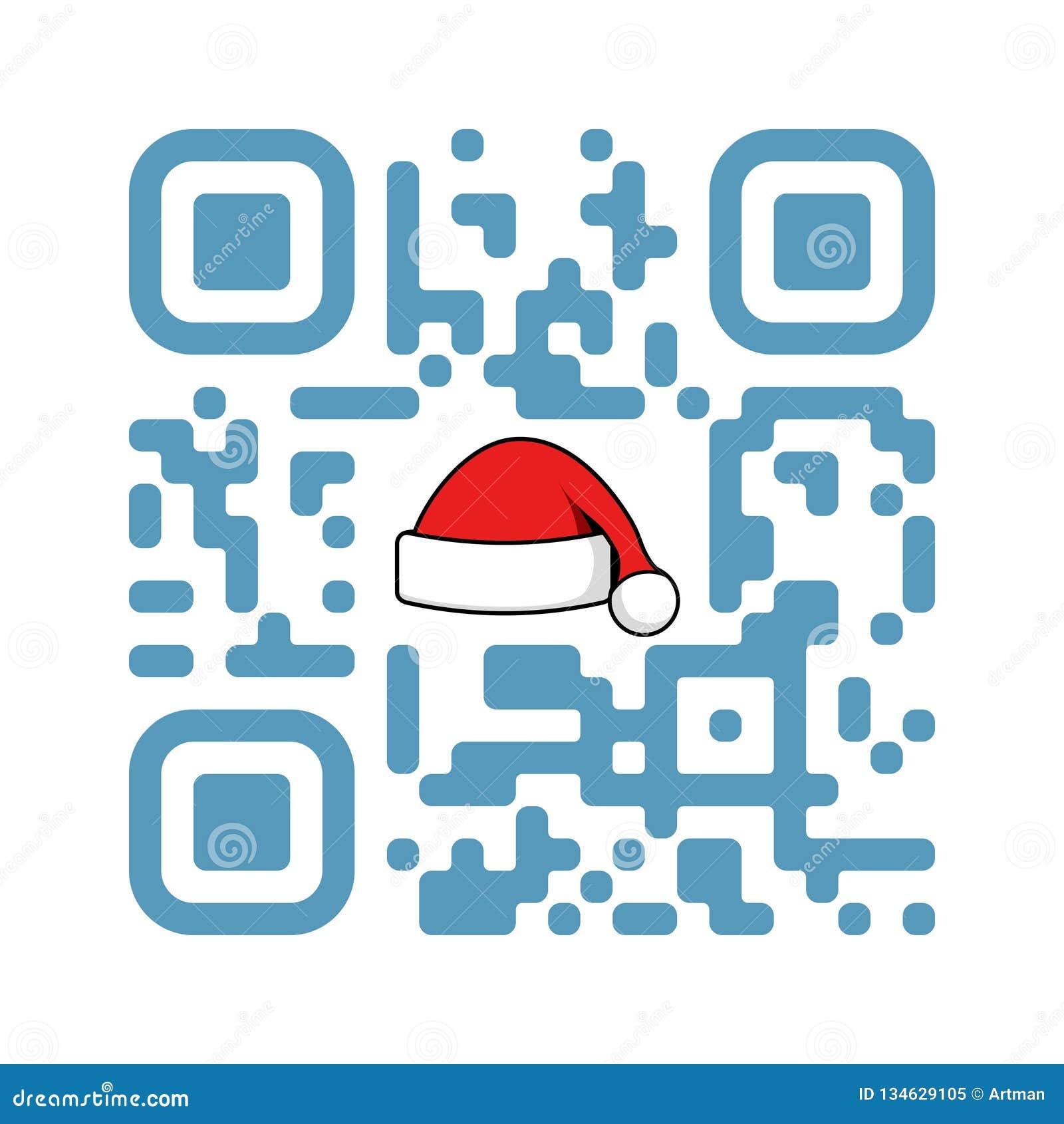 Noël QR de code lisible de Smartphone joyeux avec le chapeau de Santa Claus