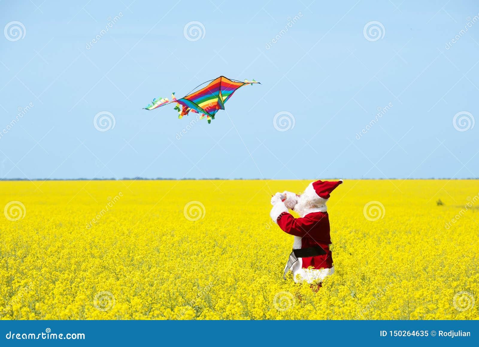 Noël Santa Claus jeter un cerf-volant dans le domaine jaune de floraison