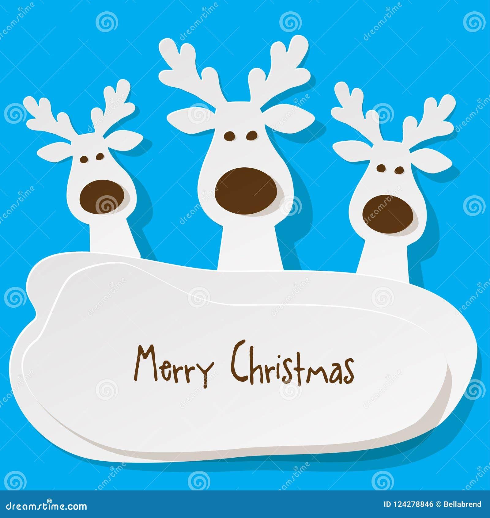 Noël trois rennes blancs sur a sur le fond de turquoise