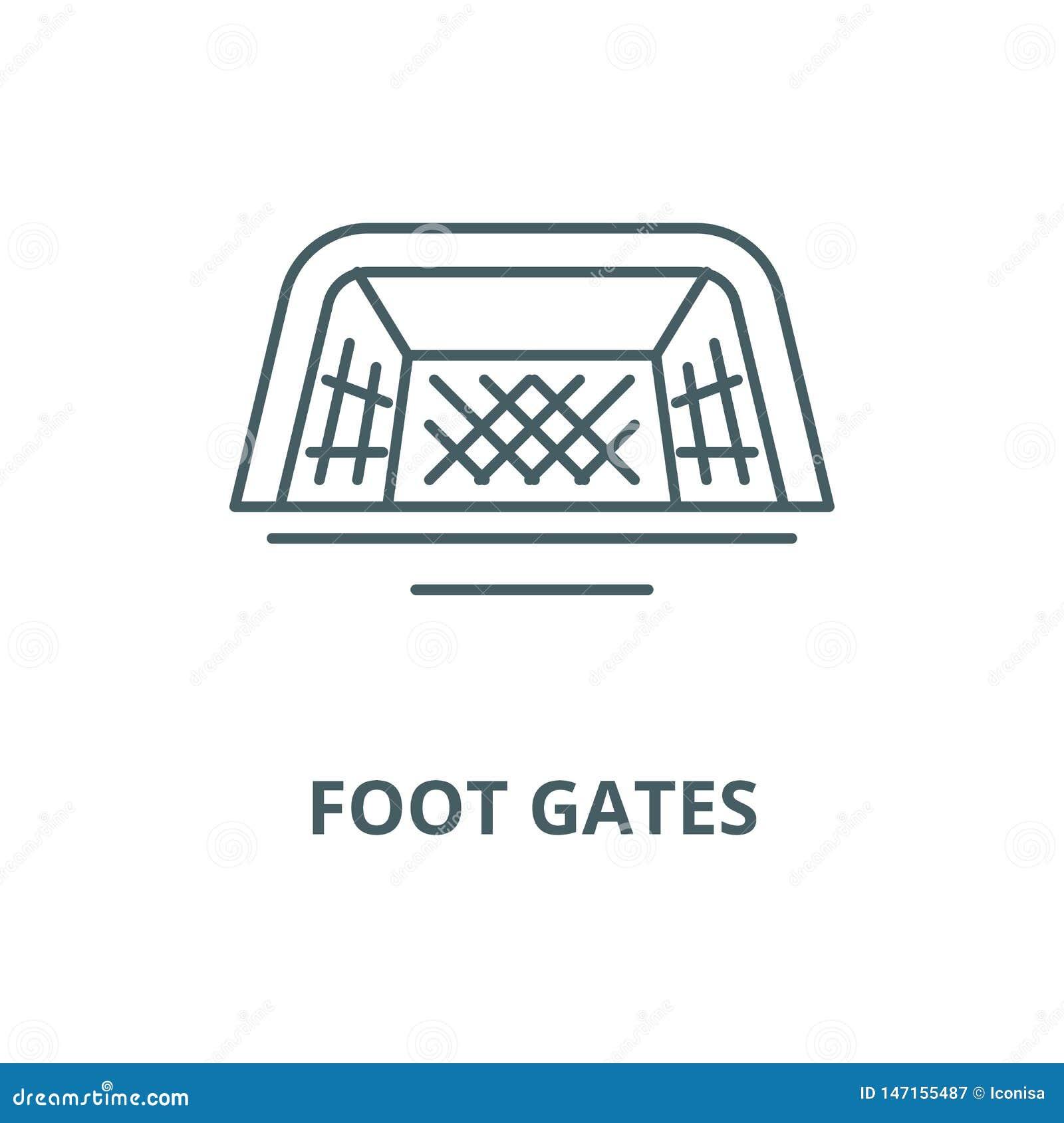 Nożna brama wektoru linii ikona, liniowy pojęcie, konturu znak, symbol