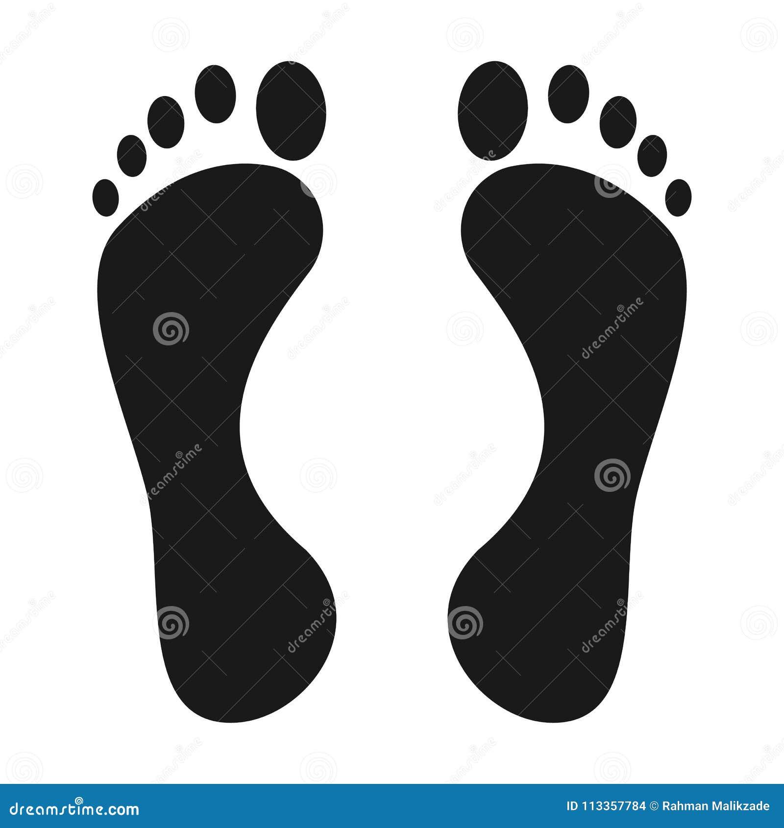 Nożna druk ikona Nagiej stopy druku czerń na białym cieki ikony wektorze