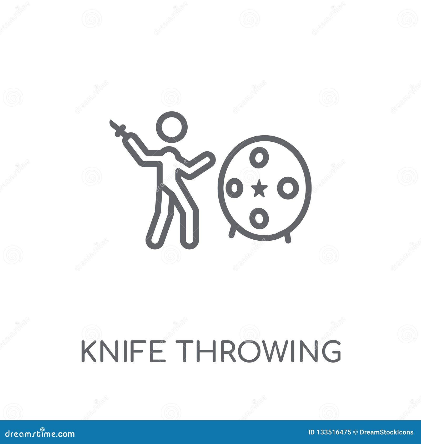 Nożowego miotania liniowa ikona Nowożytnego konturu miotania Nożowy logo c
