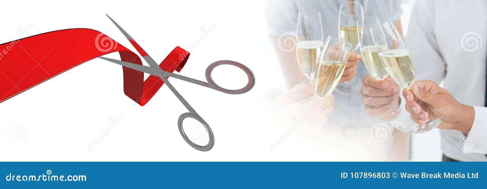 Nożyce ciie faborek z ludźmi trzyma szampana