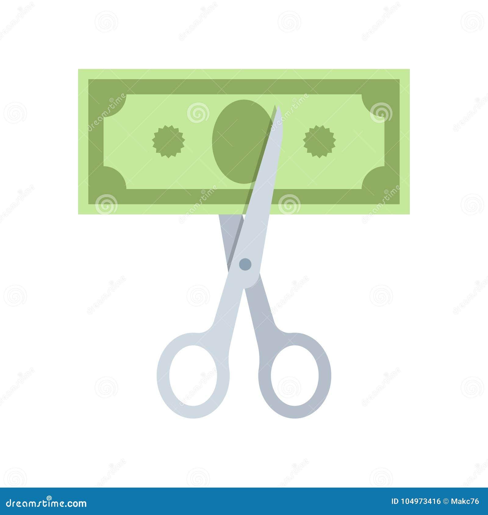 Nożyce ciie pieniądze rachunek w połówce