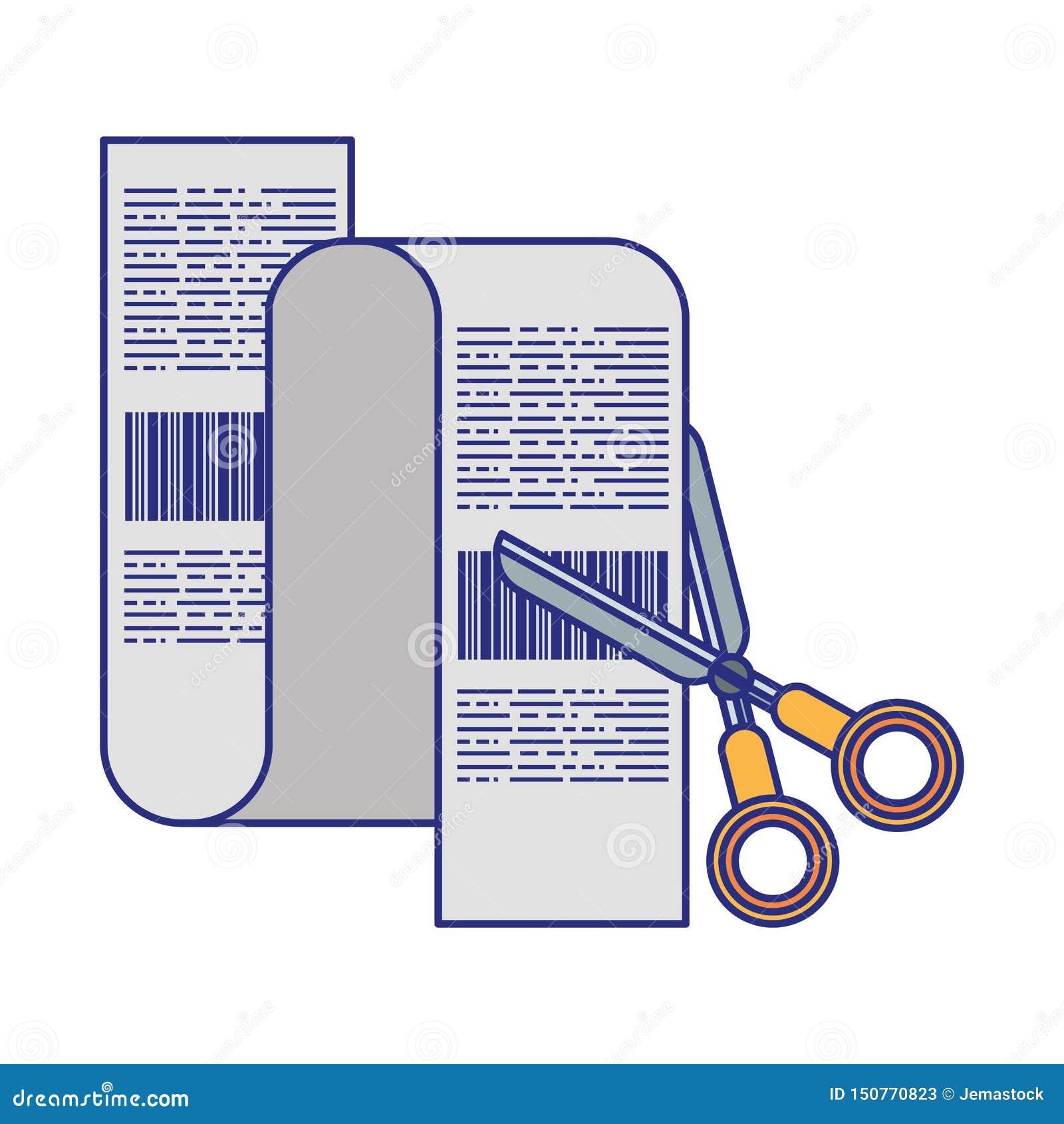 Nożyce ciie zakupy rachunku symboli/lów niebieskie linie