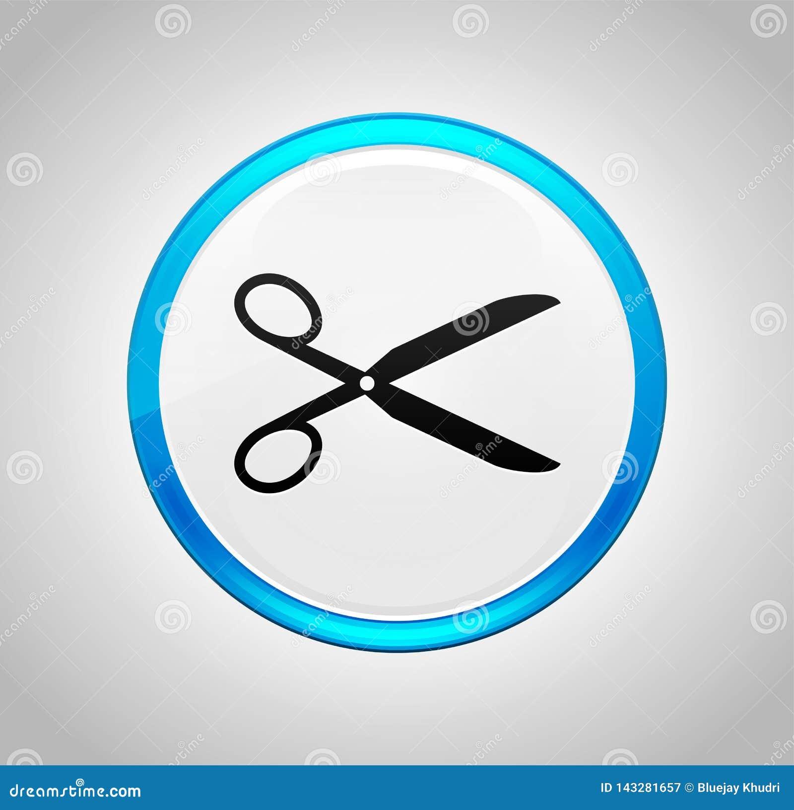 Nożyce ikony round pchnięcia błękitny guzik