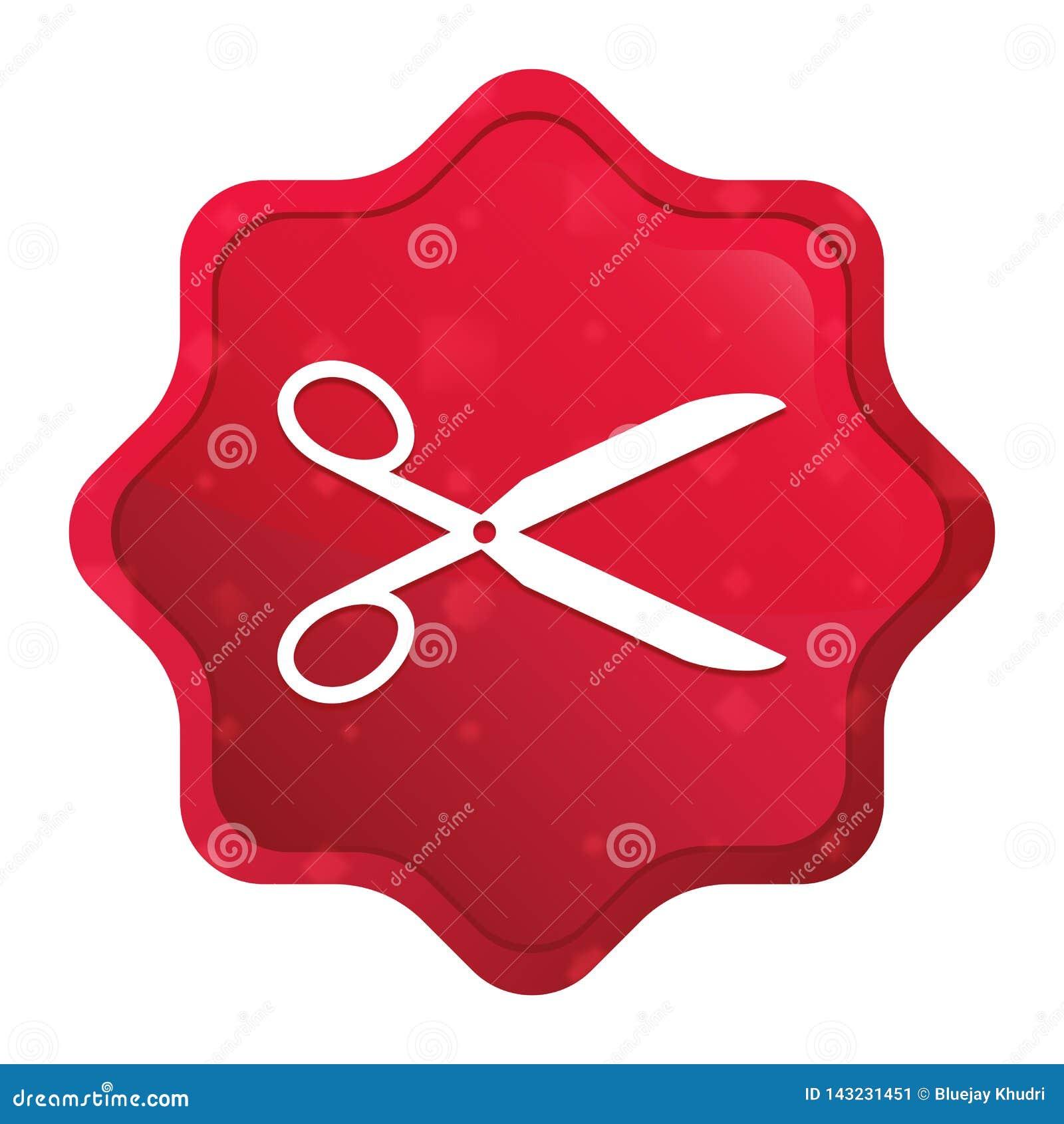 Nożyce ikony starburst majcheru mglisty różany czerwony guzik