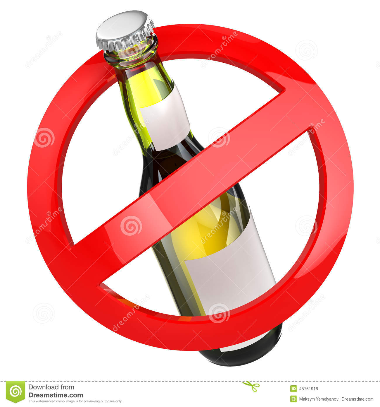 no alcohol sign bottle of beer on white isolated
