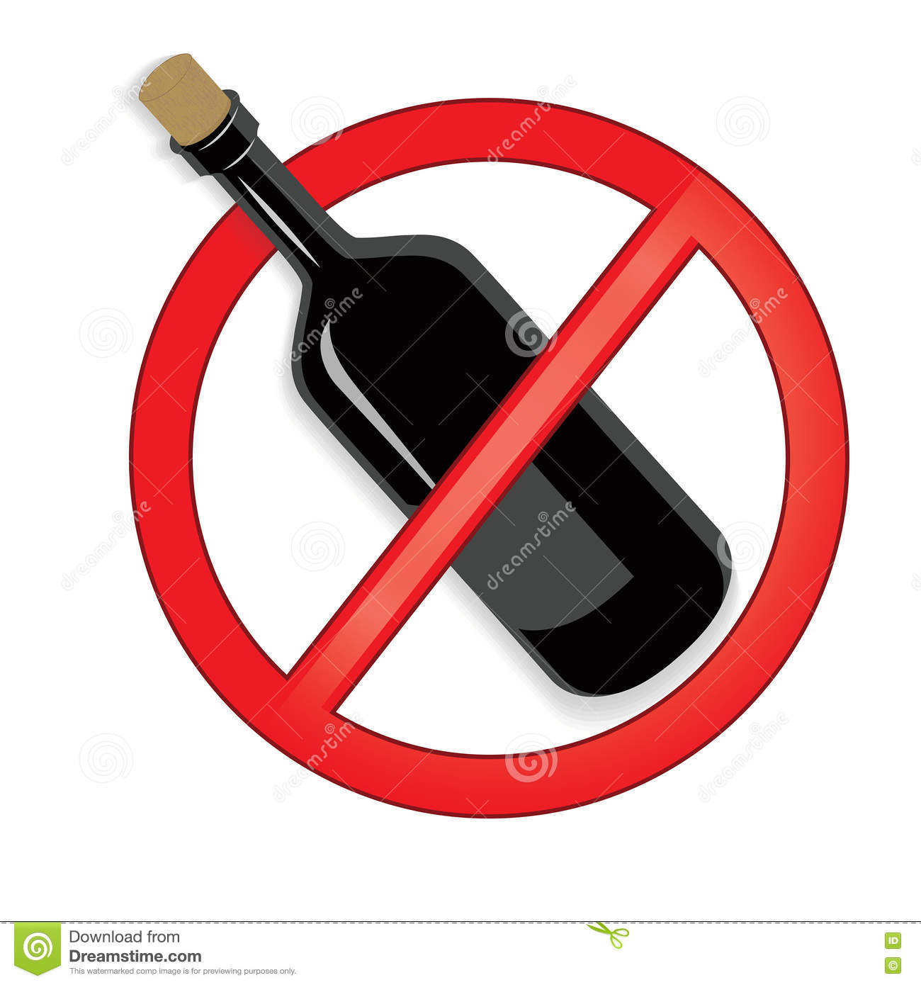 No Alcohol Sign Vector On White Background  Stock Vector