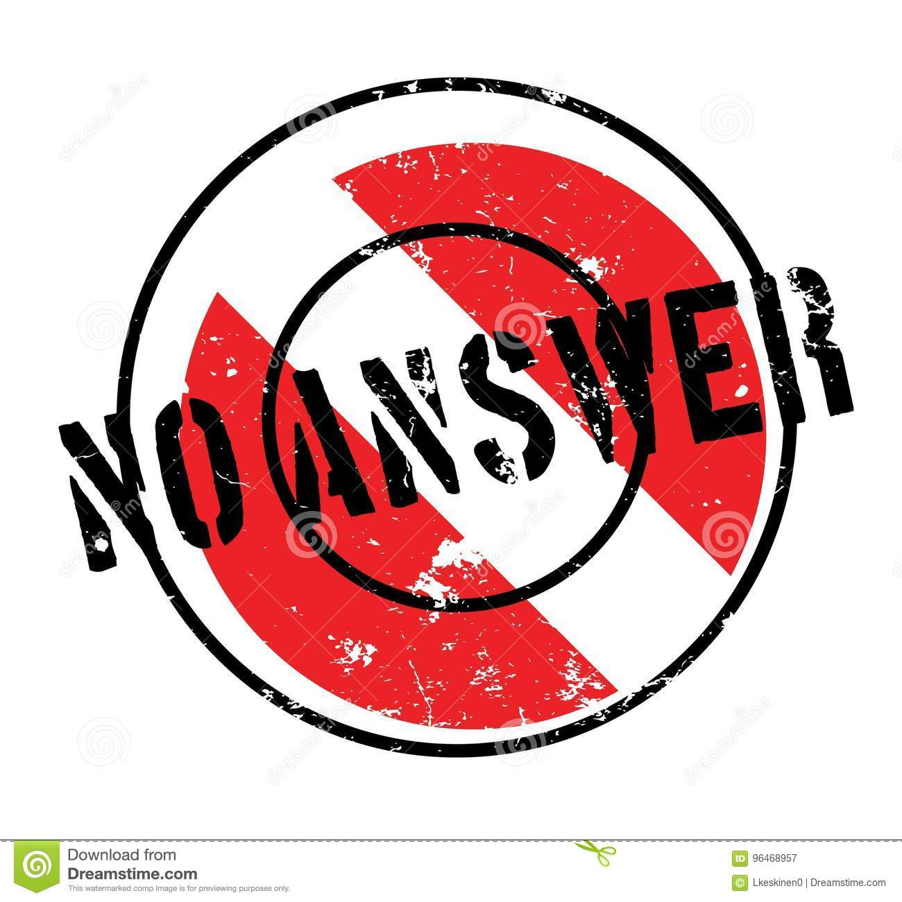 No Answer rubber stamp stock vector. Illustration of echo