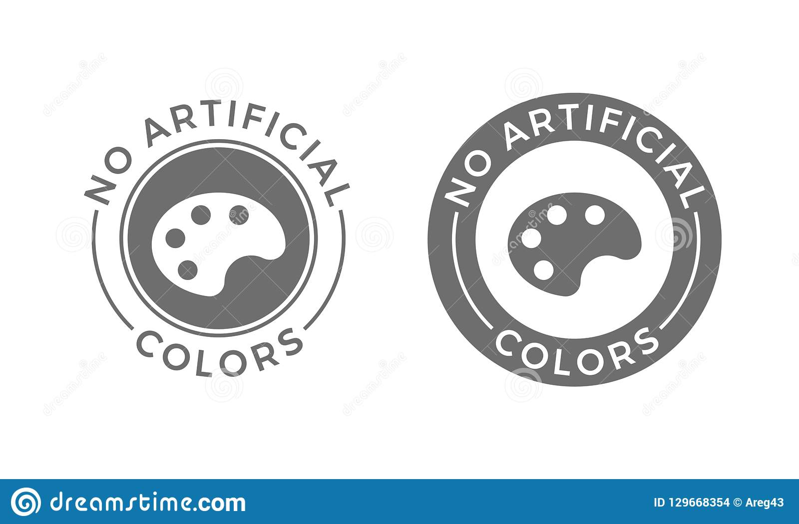 No artificial colors and dyes vector icon for skin and body care cosmetic or food and drink products. Medical safe vector symbol o