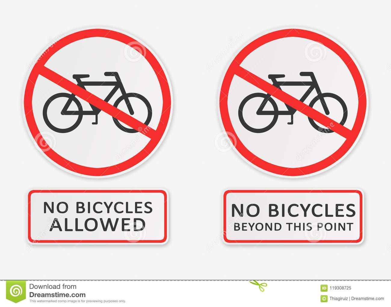 No Bicycles Allowed And No Bicycles Beyond This Point Signs Stock Illustration Illustration Of Bicycles Bike 119308725