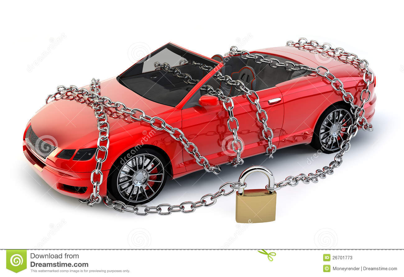 no brand car protected secured with chain stock photos image 26701773. Black Bedroom Furniture Sets. Home Design Ideas