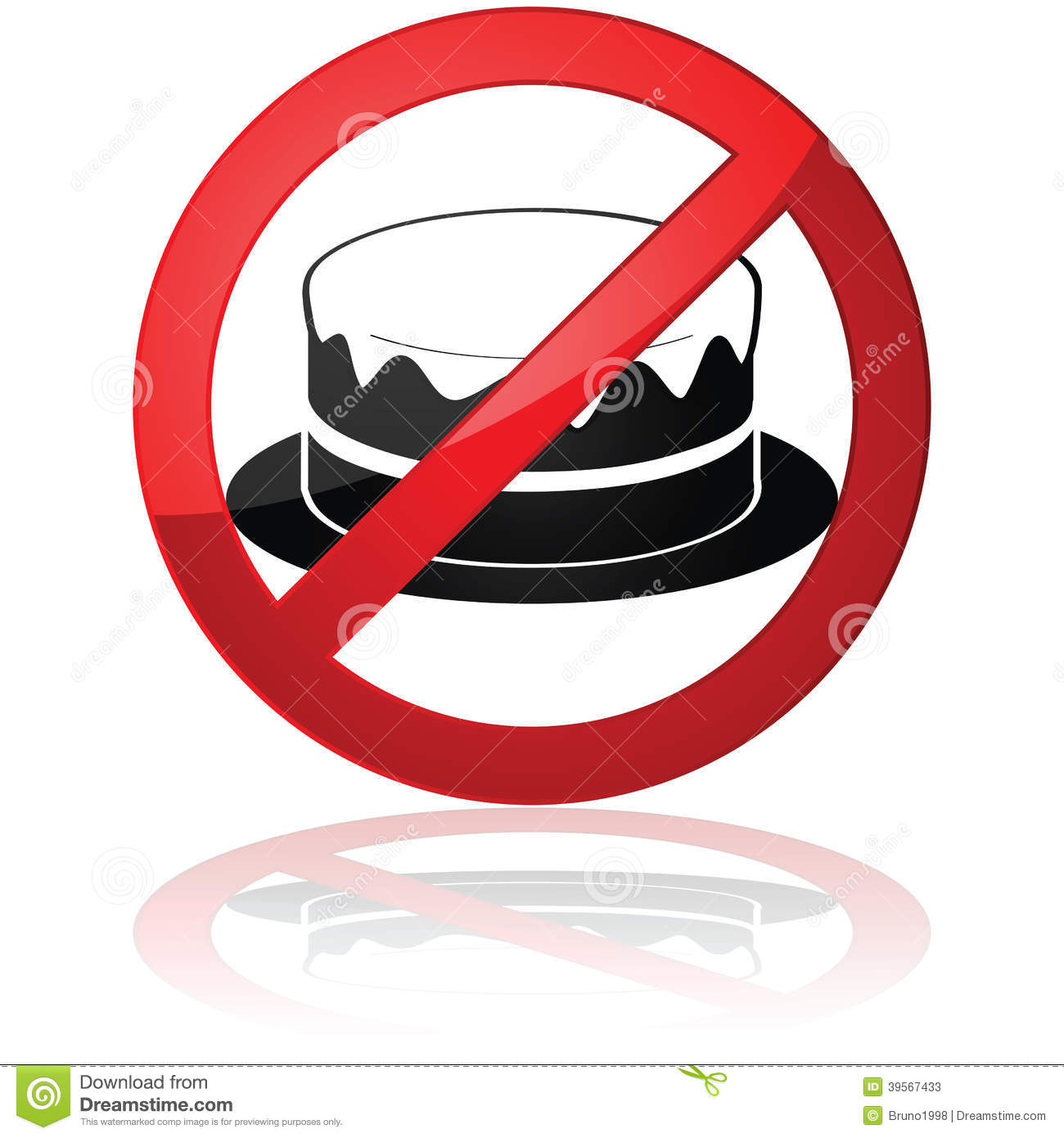Concept illustration showing a cake inside a forbidden sign.