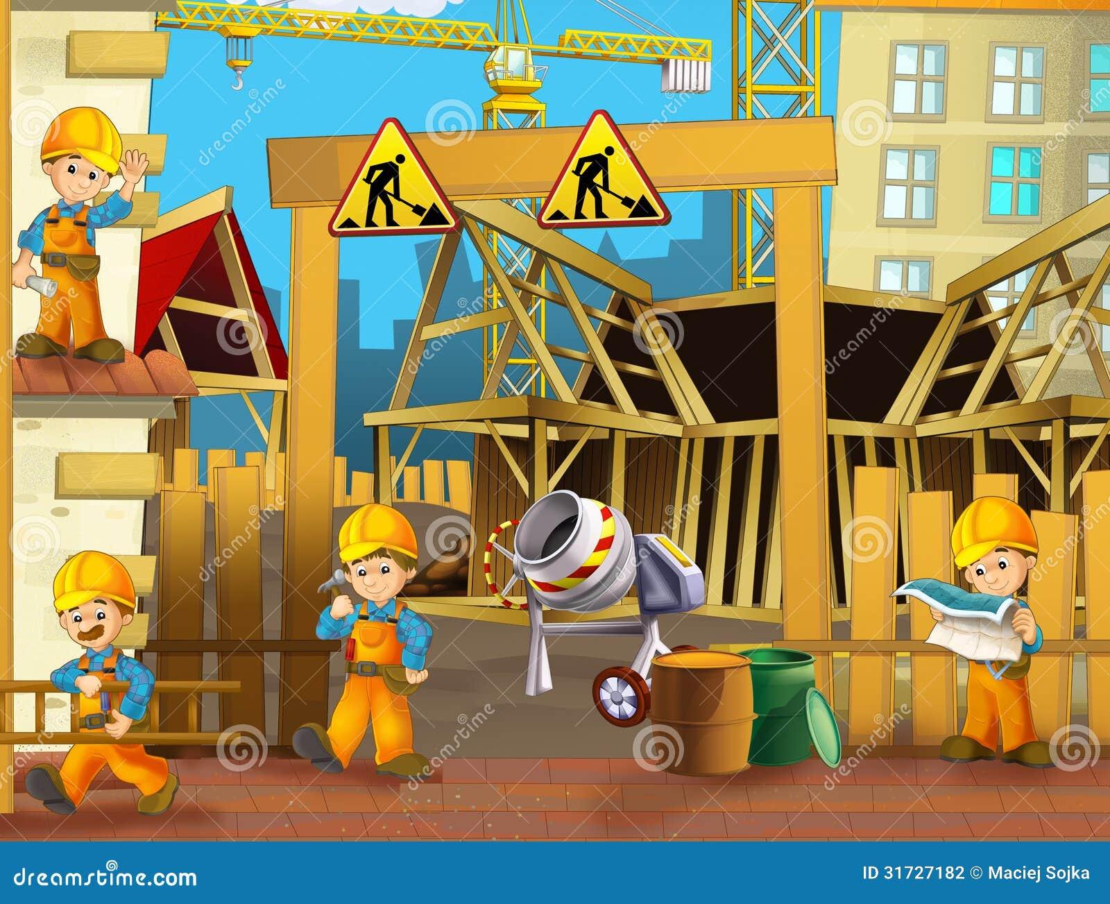 No canteiro de obras - ilustração para as crianças