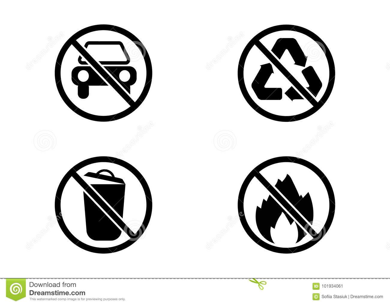 No Car No Trash No Recycling And No Fire Vector Signs Stock