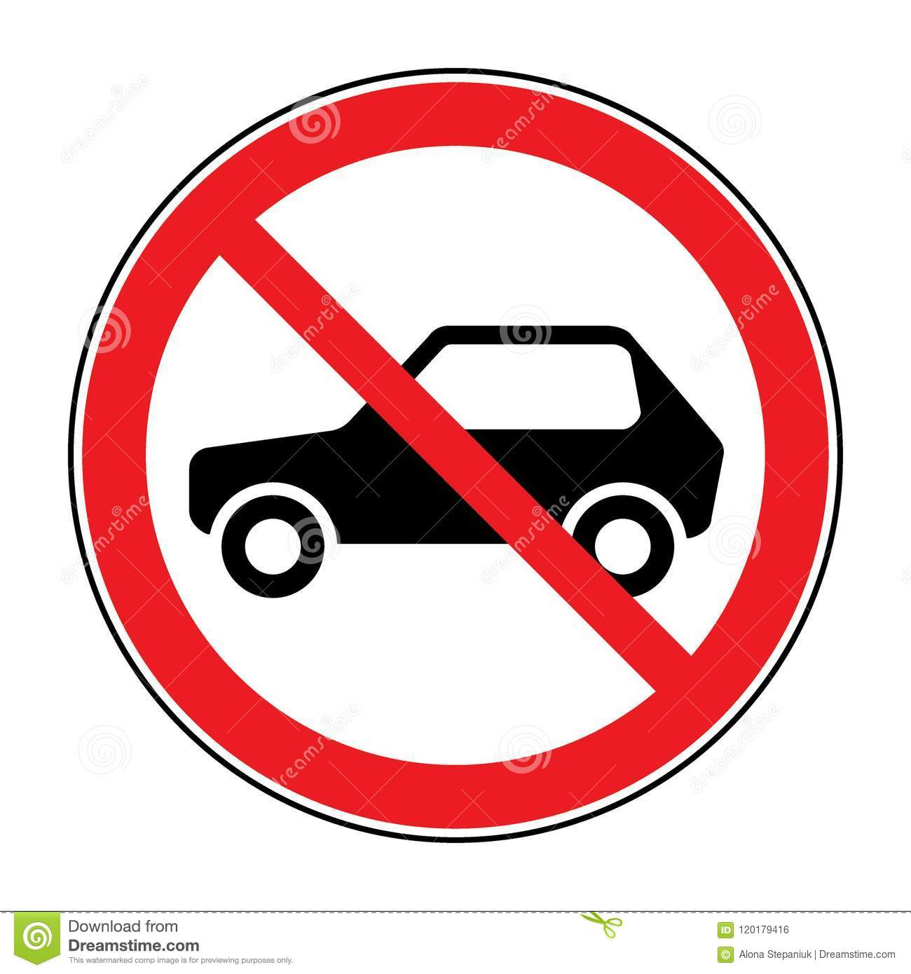 No Car Sign Stock Vector Illustration Of Icon Park 120179416