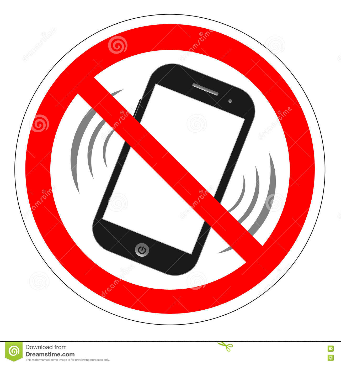No cell phone sign. Mobile phone ringer volume mute sign. No smartphone allowed icon. No Calling label on white background. No Pho