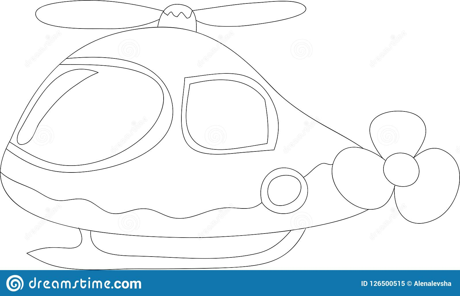Funny helicopter for kids, black and white