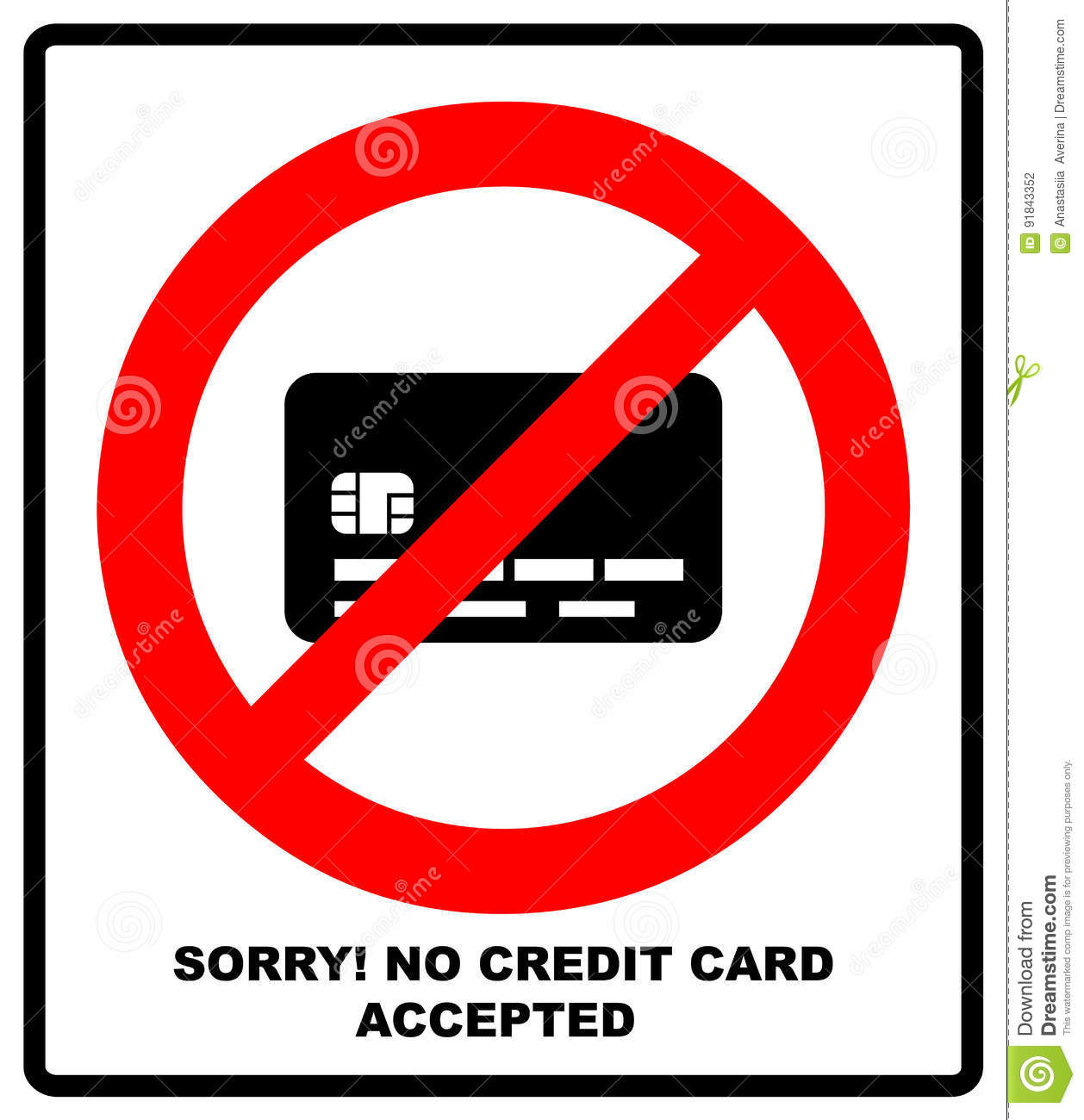No Credit Card Payment. Cash. Red Prohibition Sign. Stop