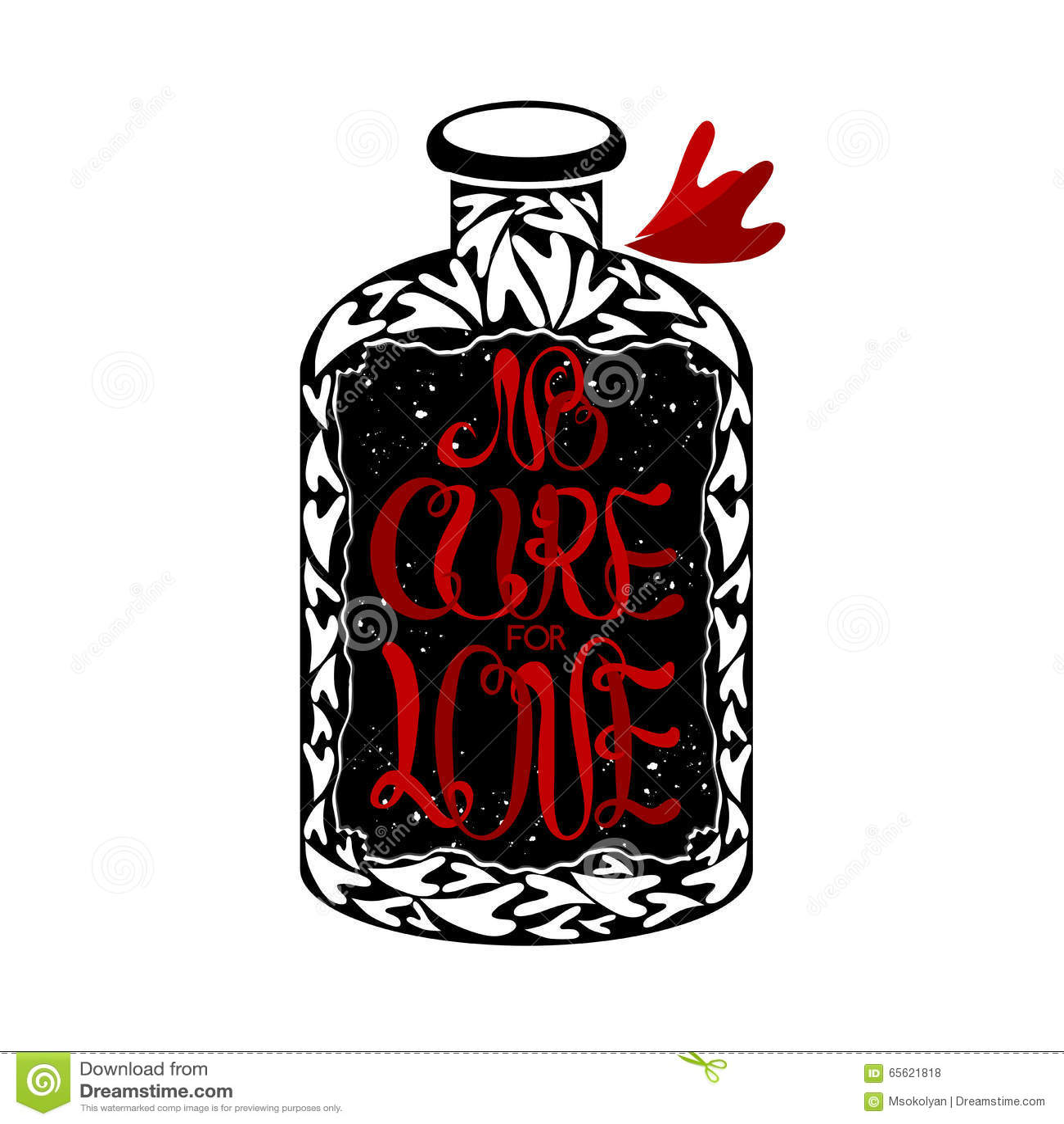 No Cure For Love Label On Vintage Medicine Bottle